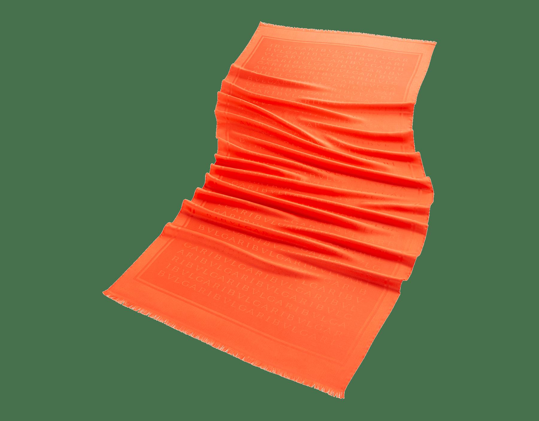 "Orange ""Lettere Maxi Light"" stole in fine silk. LETTEREMAXILIGHTa image 1"