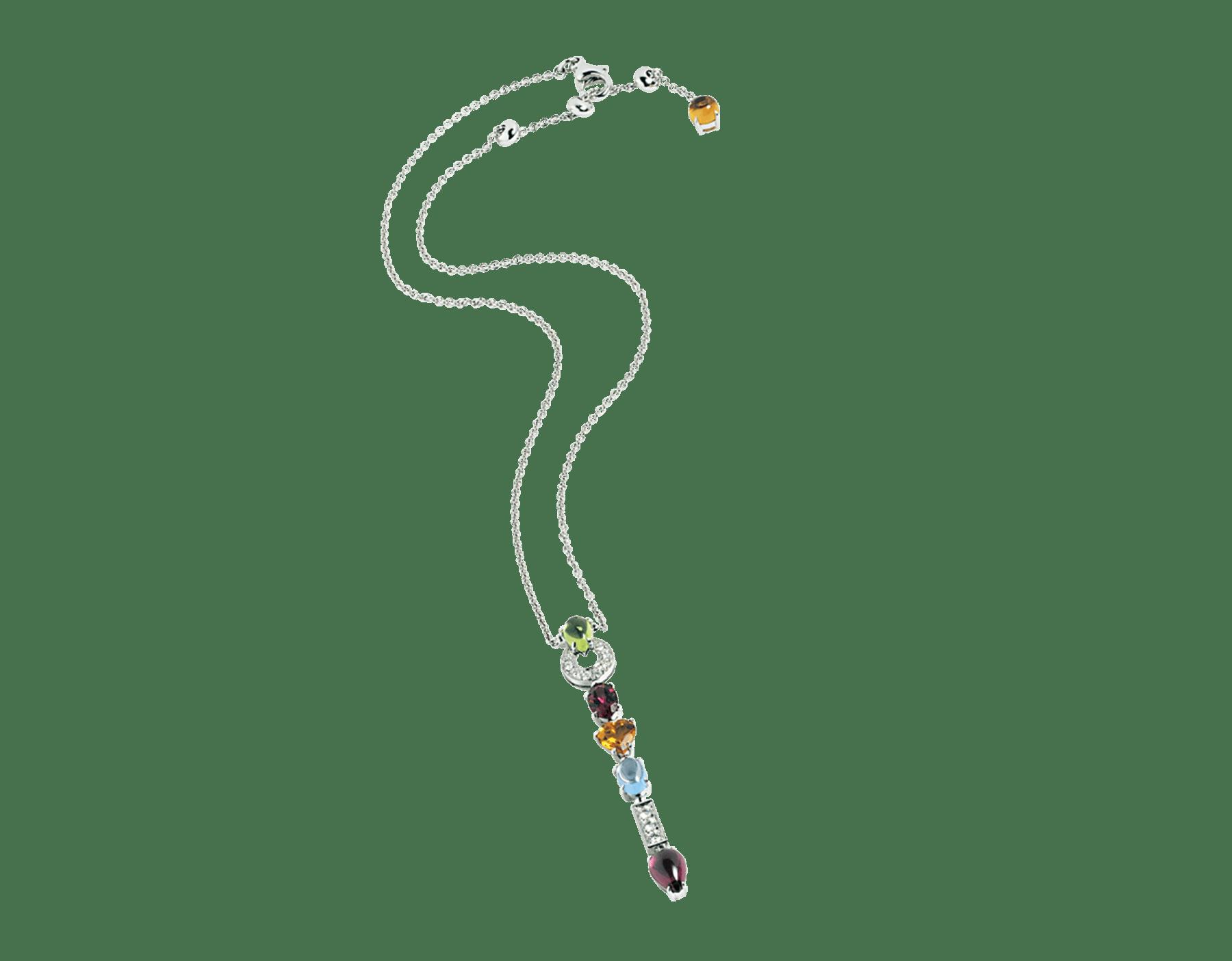 Collar con colgante Allegra en oro blanco de 18 qt con peridotos, rodonitas, cuarzo citrino, topacios azules y pavé de diamantes. 339373 image 1