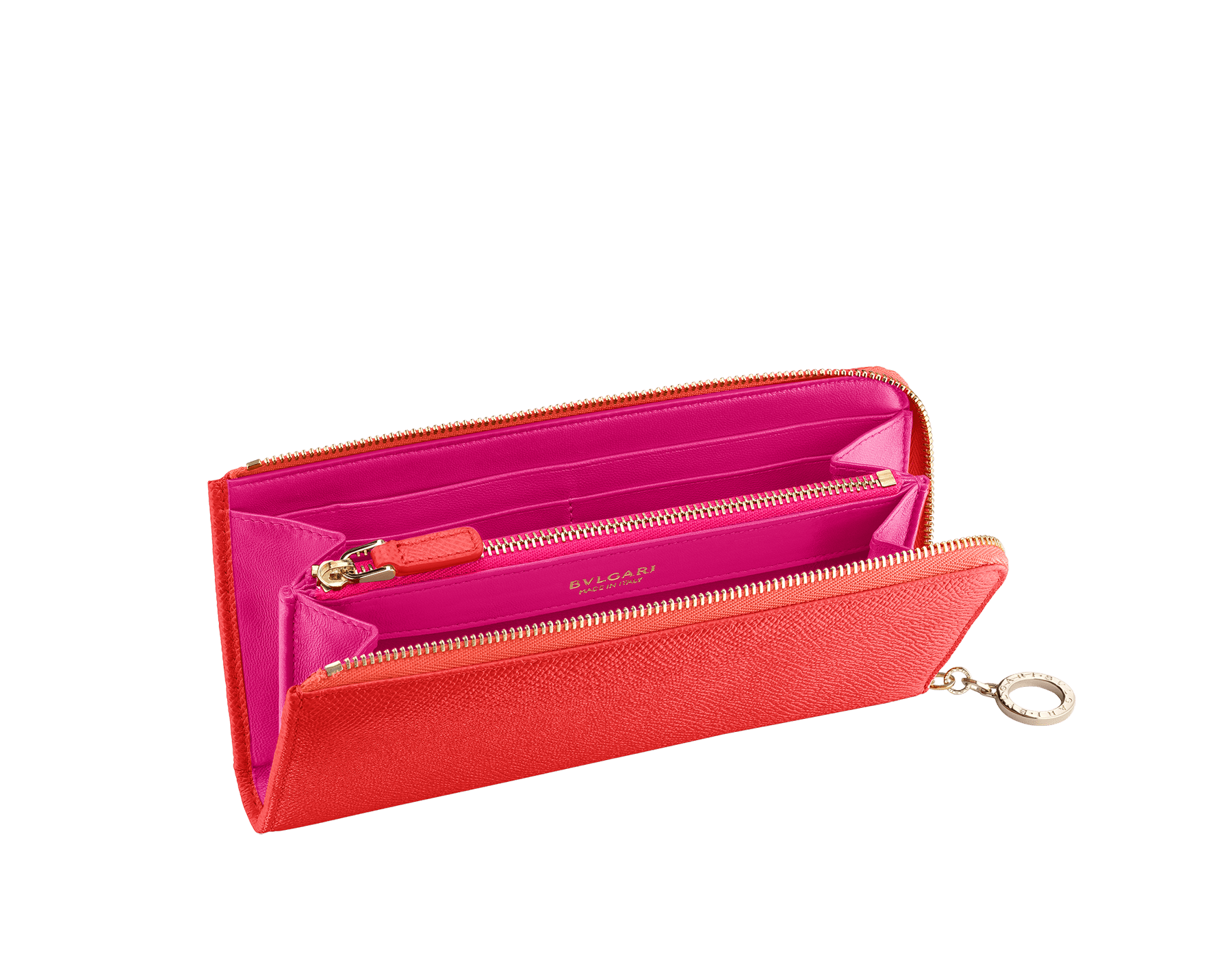 BVLGARI BVLGARI L-shaped zipped wallet in sea star coral bright grain calf leather and pink spinel nappa. Iconic logo zip puller in light gold plated brass. 288172 image 2