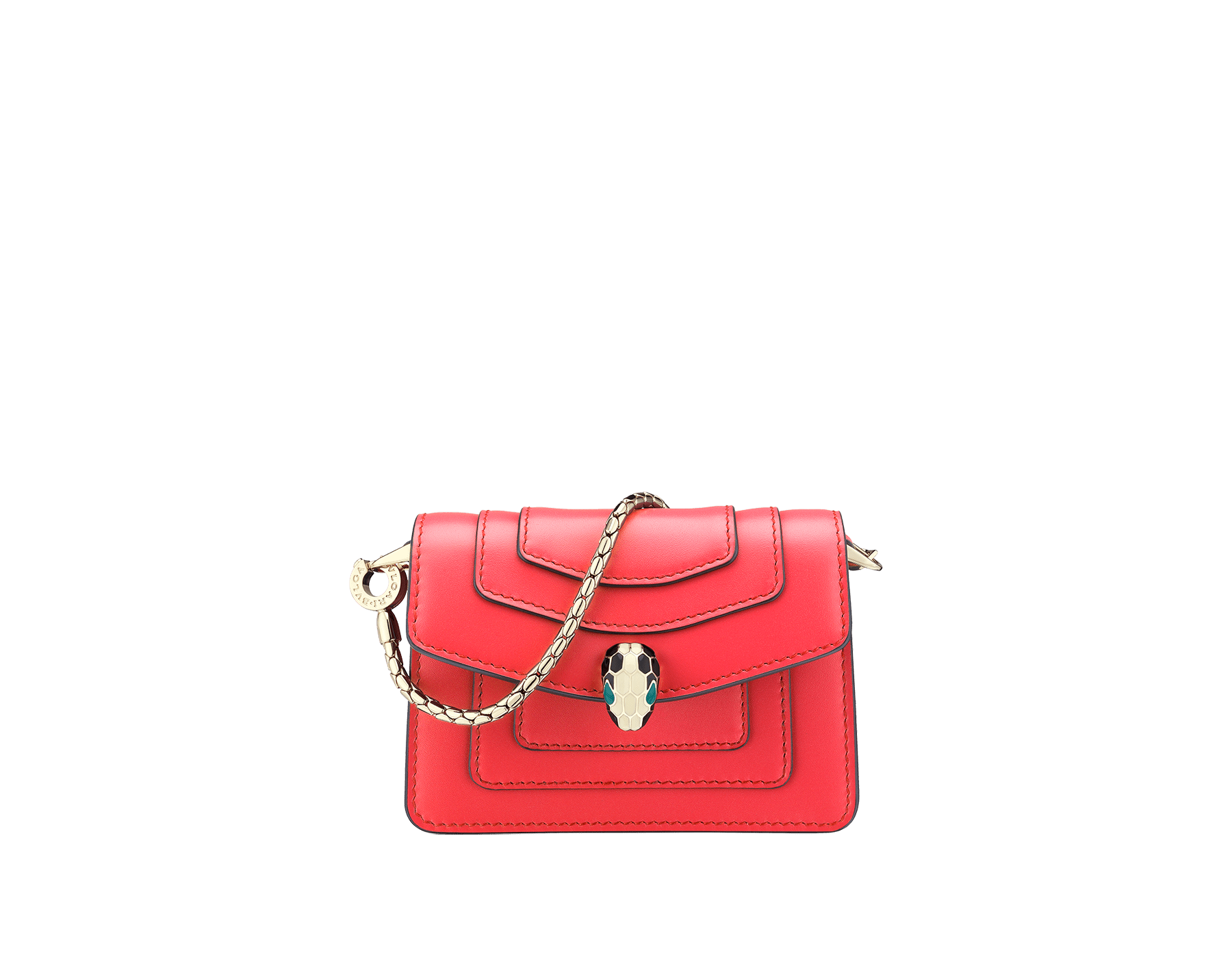 Serpenti Forever miniature bag charm in sea star coral calf leather with berry tourmaline calf leather lining. Iconic light gold plated brass snakehead stud closure enameled in black and white, and finished with green enamel eyes. 288370 image 1