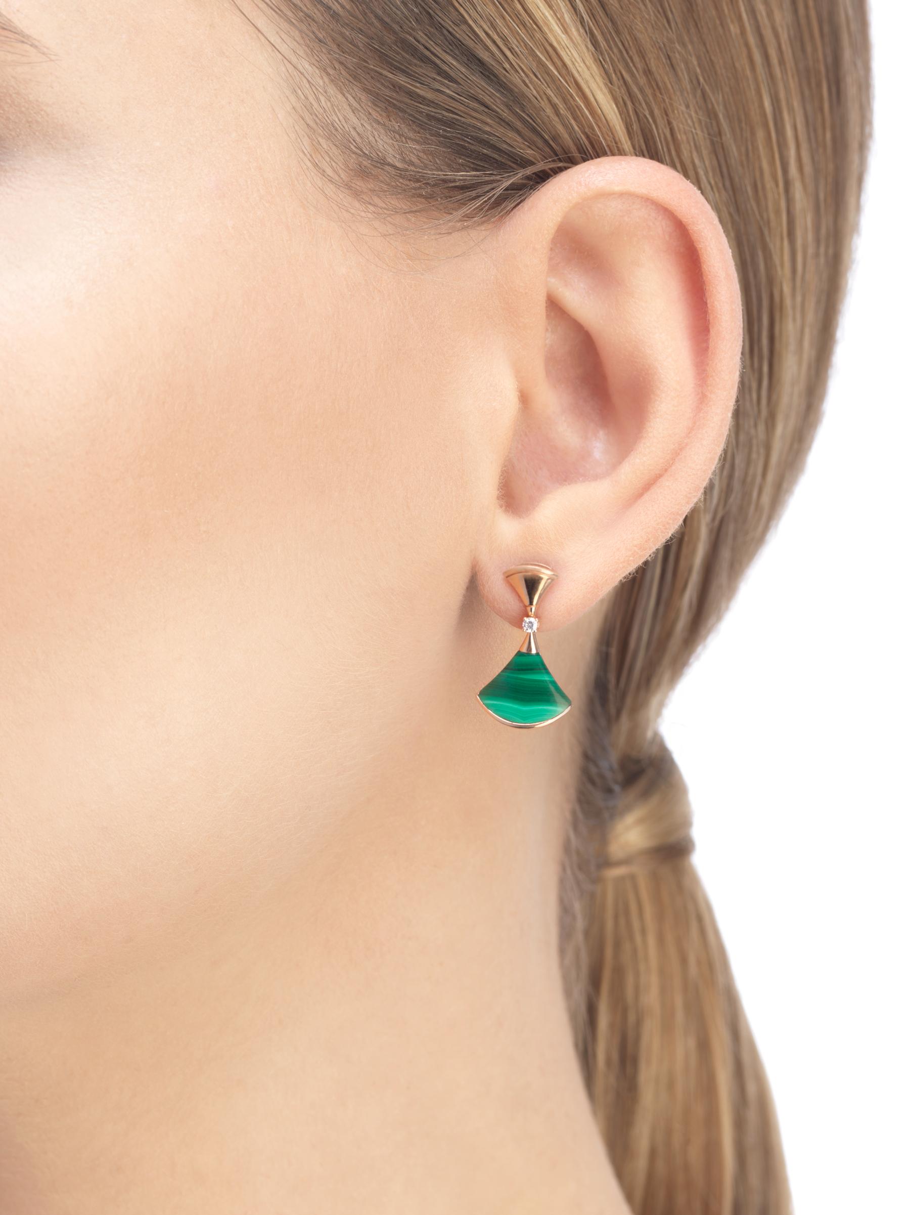 DIVAS' DREAM 18 kt rose gold earring set with malachite elements and round brilliant-cut diamonds (0.07 ct) 356454 image 3