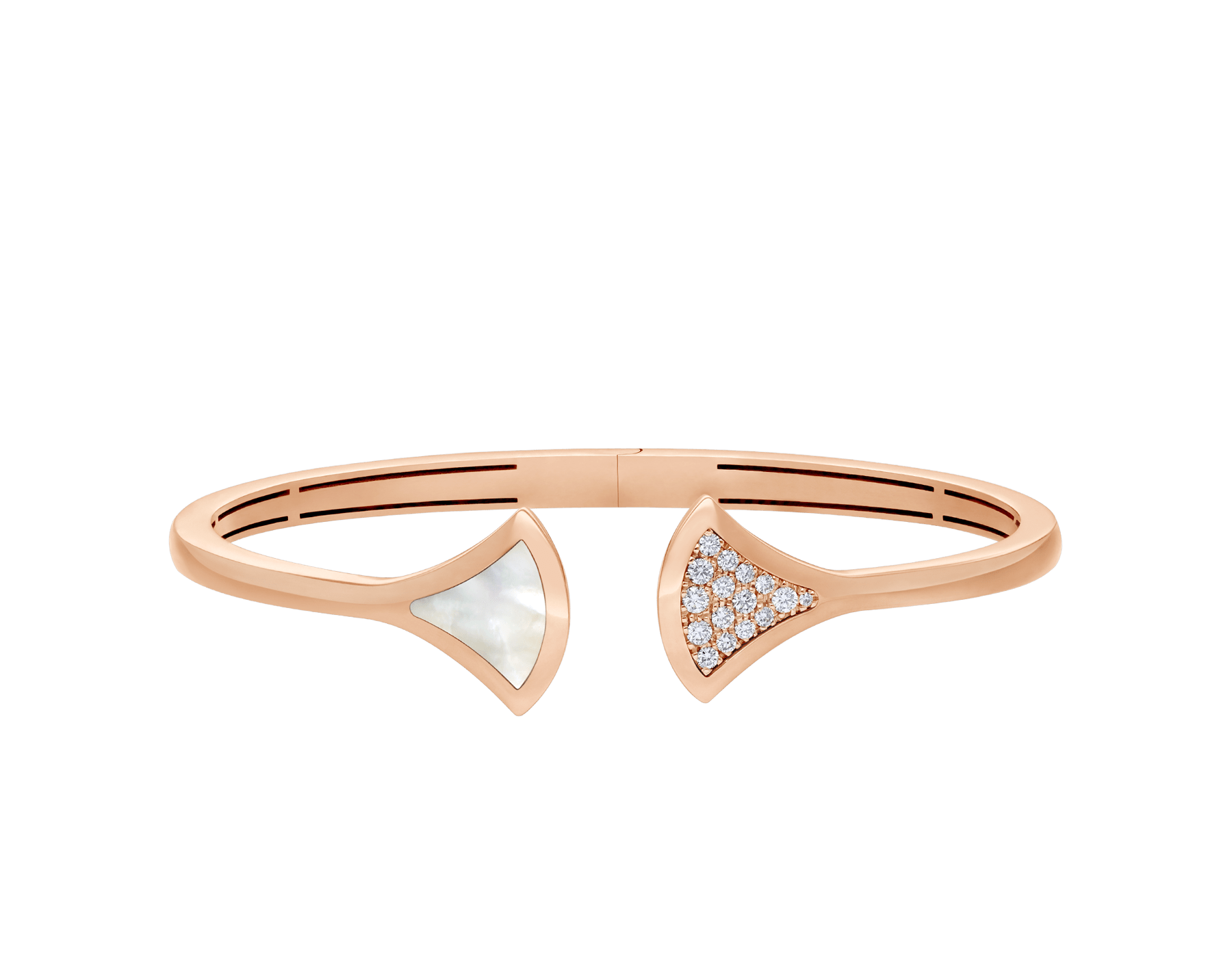 DIVAS' DREAM 18 kt rose gold bangle bracelet set with a mother of pearl element and pavé diamonds. BR858680 image 2