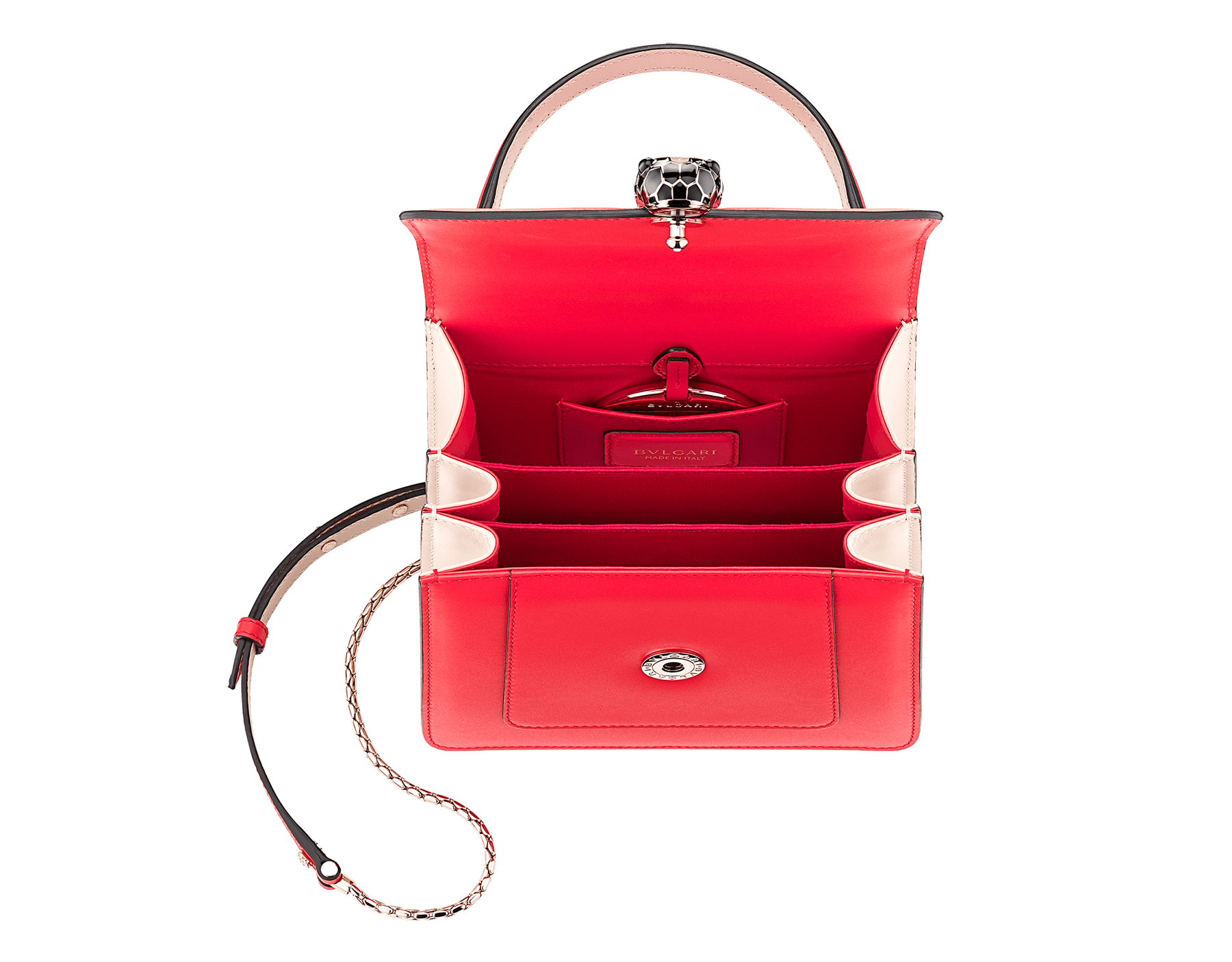 Serpenti Forever crossbody bag in sea star coral smooth calf leather body and milky opal calf leather sides. Snakehead closure in light gold plated brass decorated with milky opal and black enamel, and black onyx eyes. 287961 image 4