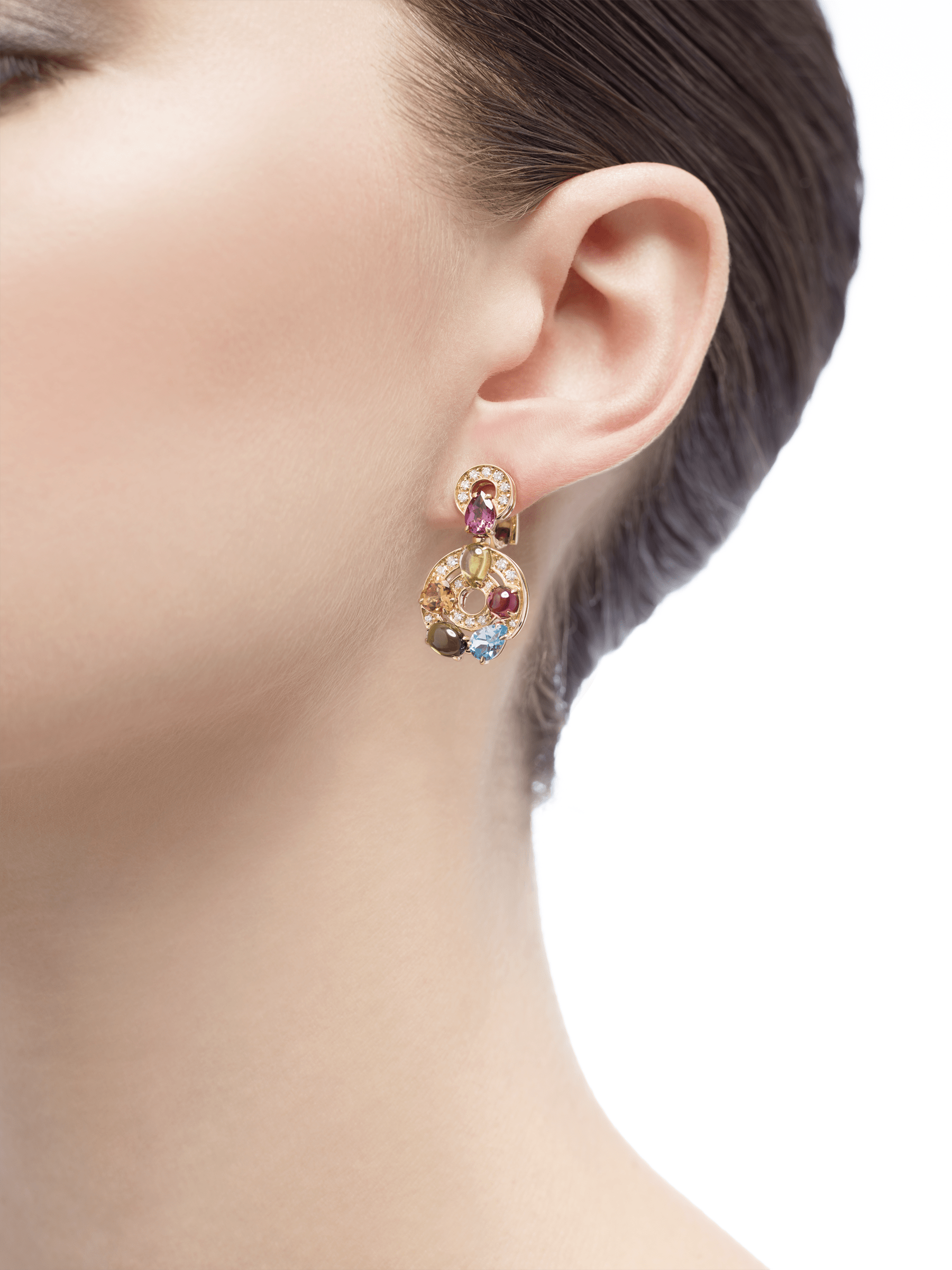 Cerchi 18kt yellow gold earrings set with blue topazes, green tourmalines, peridots, citrine quartz, rhodolite garnets and pavé diamonds 339141 image 4