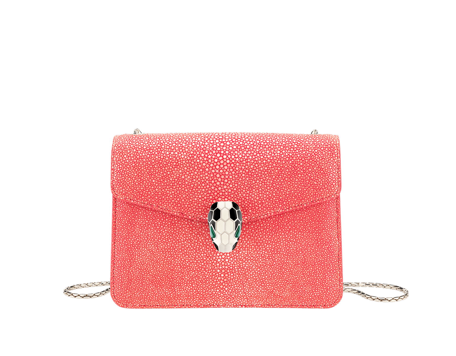 """Serpenti Forever"" crossbody bag with a multicolored ""Multishaded"" galuchat skin body and berry tourmaline calf leather sides. Iconic snakehead closure in dark ruthenium plated brass enriched with berry tourmaline and black enamel, and black onyx eyes. 422-FG image 1"