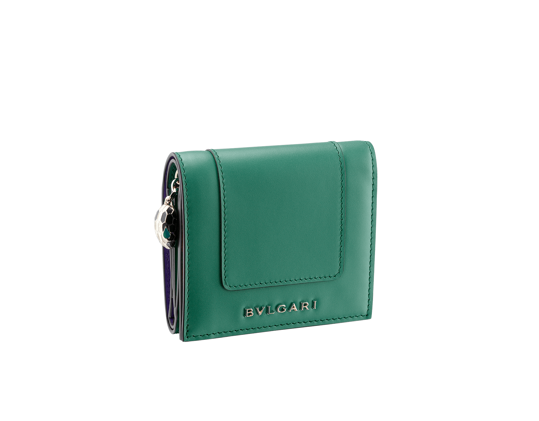 Serpenti Forever super compact wallet in Roman garnet and pink spinel calf leather. Iconic snakehead stud closure in black and white enamel with green malachite enamel eyes. SEA-SUPERCOMPACT-CLa image 1