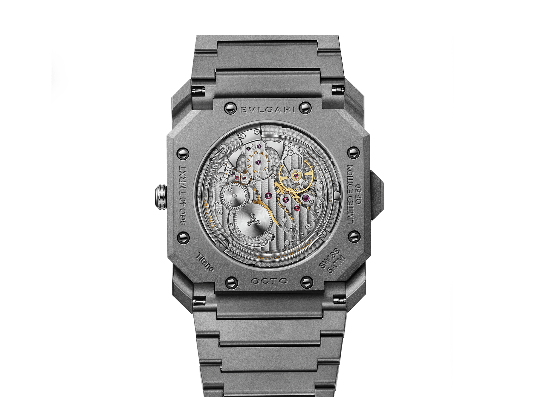 Octo Finissimo Minute Repeater Limited Edition watch with ultra-thin mechanical manufacture movement, two hammers, skeleton indexes, sandblasted titanium case, dial and bracelet 103015 image 3