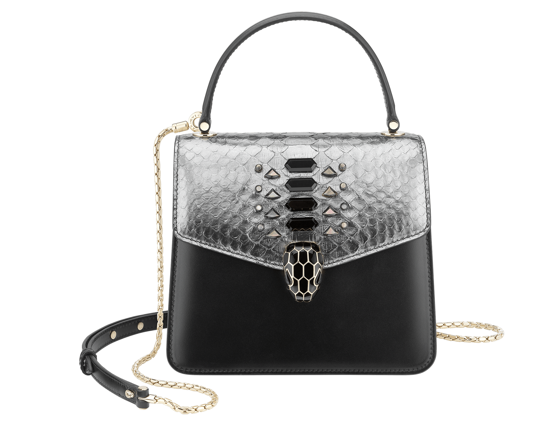 """Serpenti Forever "" crossbody bag in dark silver python skin flap with onyx scales applied and black smooth calf leather body. Iconic snake head closure in light gold plated brass enriched with black enamel and black onyx eyes. 289419 image 1"