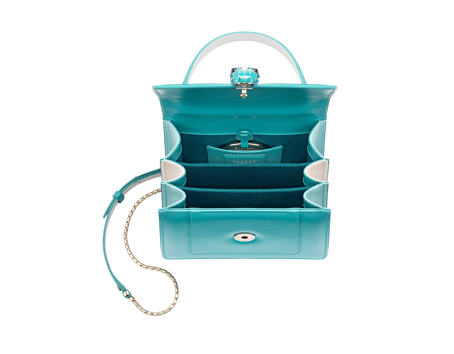 """Serpenti Forever "" crossbody bag in arctic jade calf leather body and glacier turquoise and white agate calf leather sides. Iconic snakehead closure in light gold plated brass enriched with arctic jade and white agate enamel and black onyx eyes. 288772 image 4"