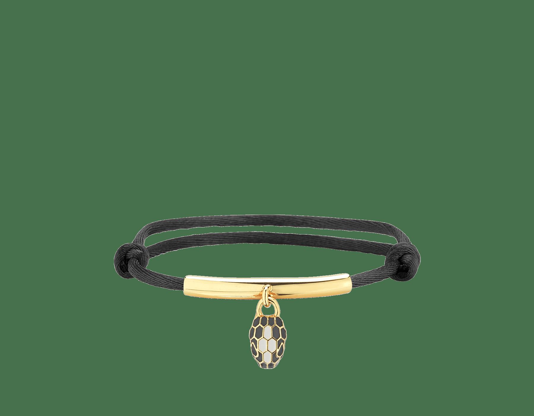 Bracelet Serpenti Forever en soie couleur Daisy Topaz avec plaque en laiton et bijou Serpenti emblématique en émail noir et couleur blanc agate avec yeux en émail noir. SERP-MINISTRING image 1
