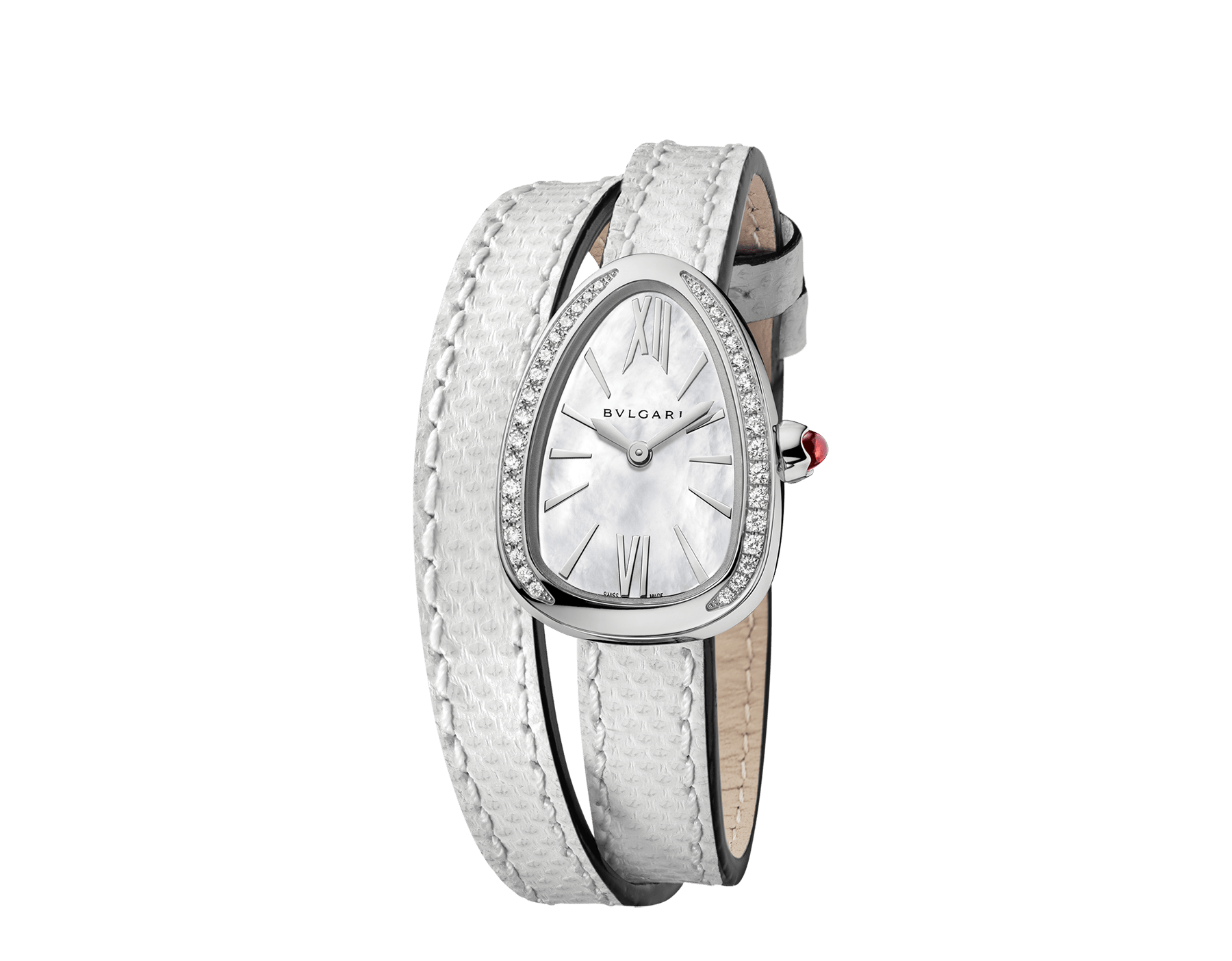 Serpenti watch with stainless steel case set with diamonds, white mother-of-pearl dial and interchangeable double spiral bracelet in white karung leather. 102781 image 2
