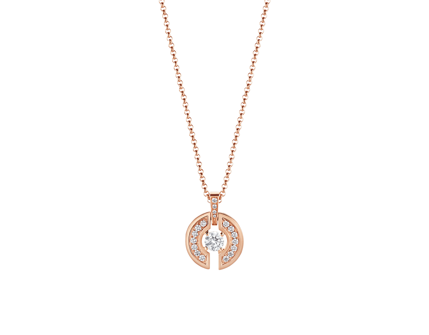 Parentesi necklace with 18 kt rose gold chain and pendant, set with a central diamond and pavé diamonds. 354606 image 1