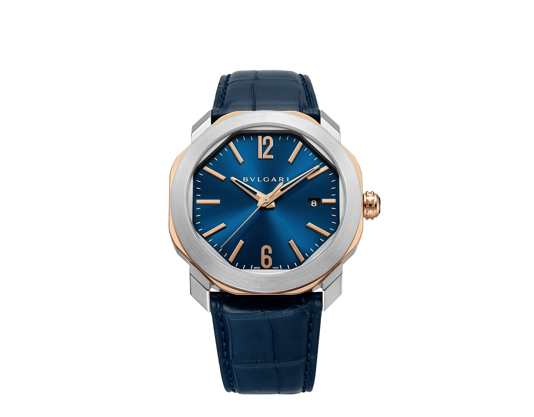 Octo Roma watch with mechanical manufacture movement, automatic winding, stainless steel and 18 kt rose gold case, blue dial and blue alligator bracelet. Water resistant up to 50 metres 103205 image 1