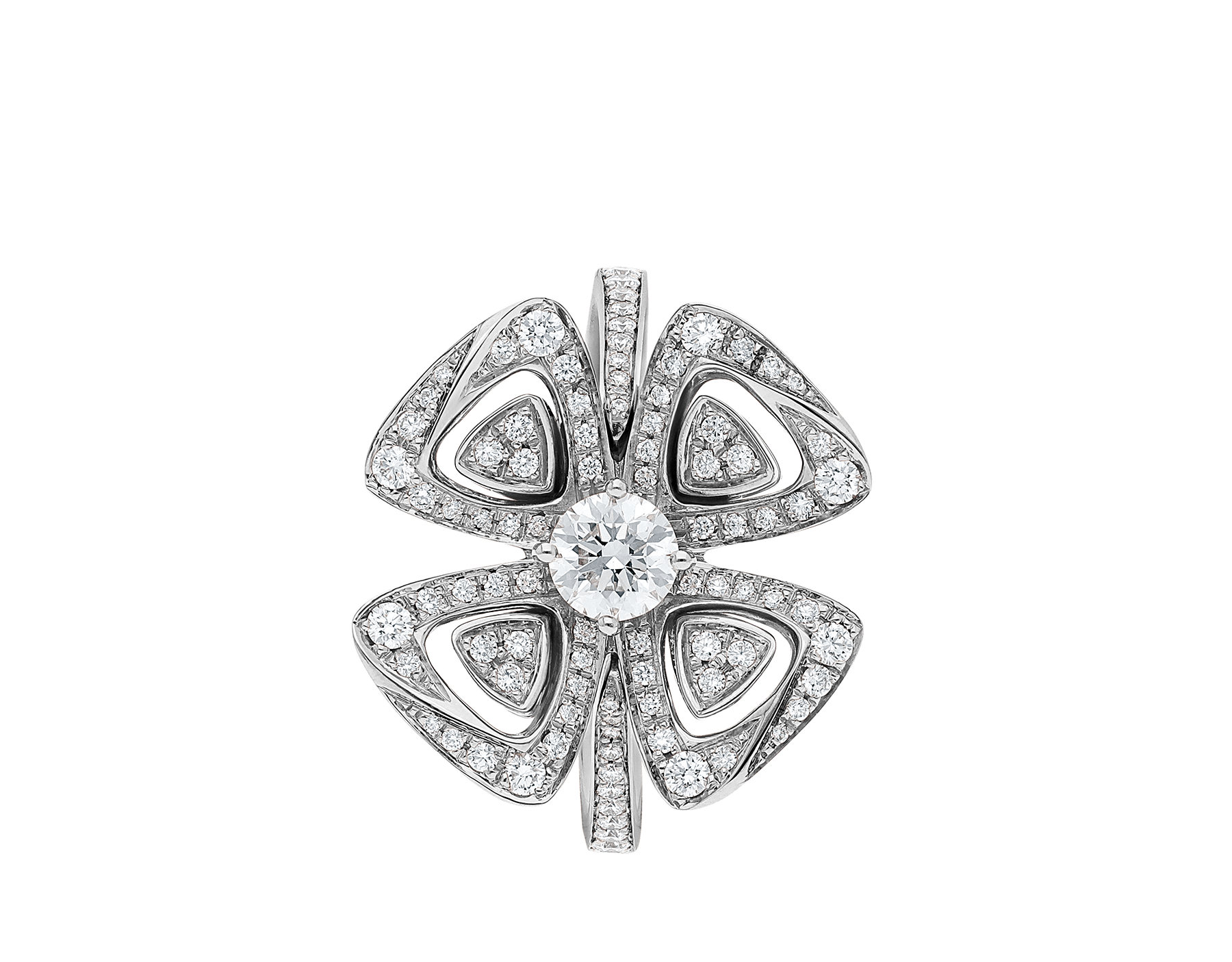 Fiorever 18 kt white gold ring set with a central diamond and pavé diamonds. AN858168 image 2