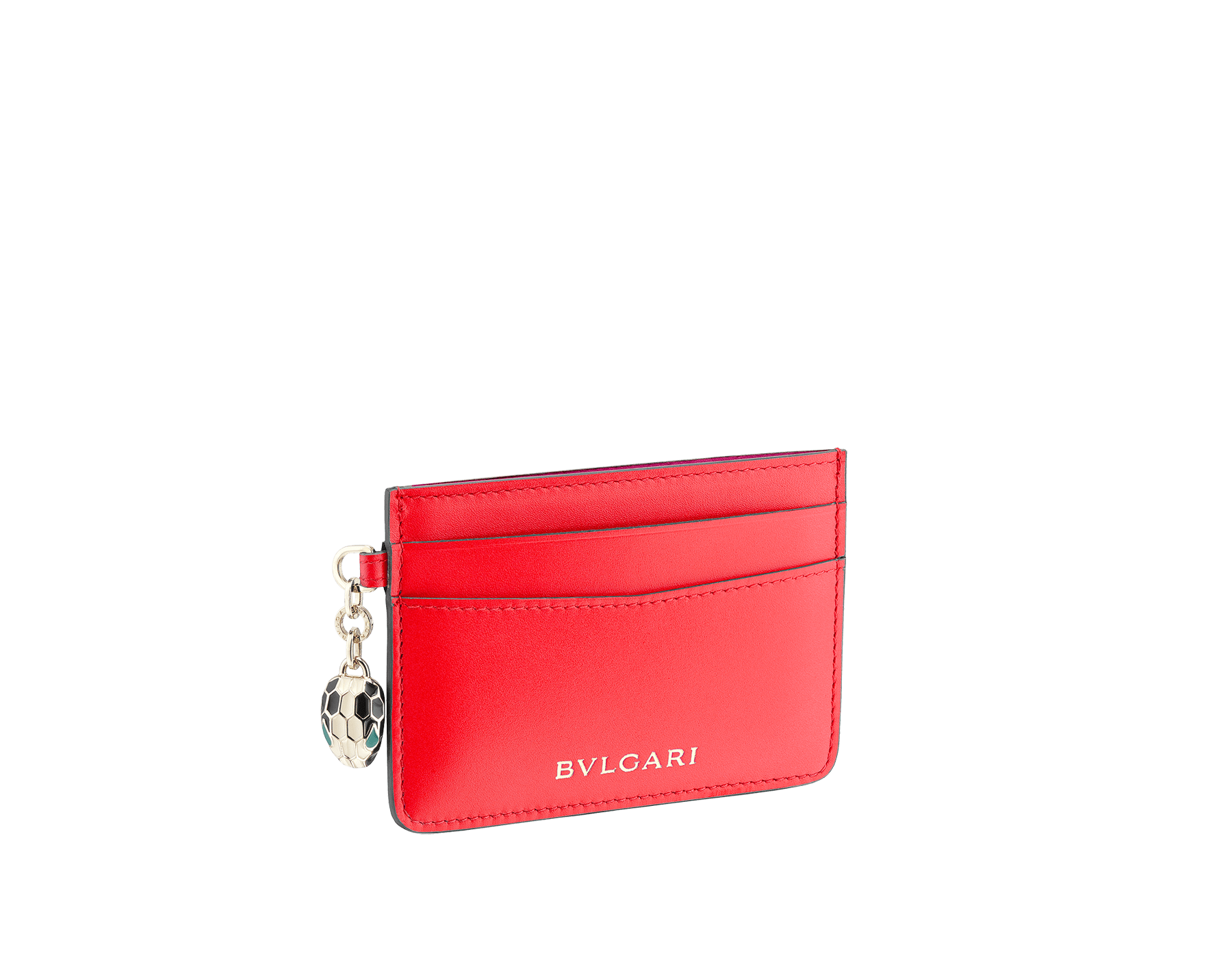 Serpenti Forever credit card holder in sea star coral and pink spinel calf leather. Iconic snakehead charm in black and white enamel, with green malachite enamel eyes. 288019 image 1