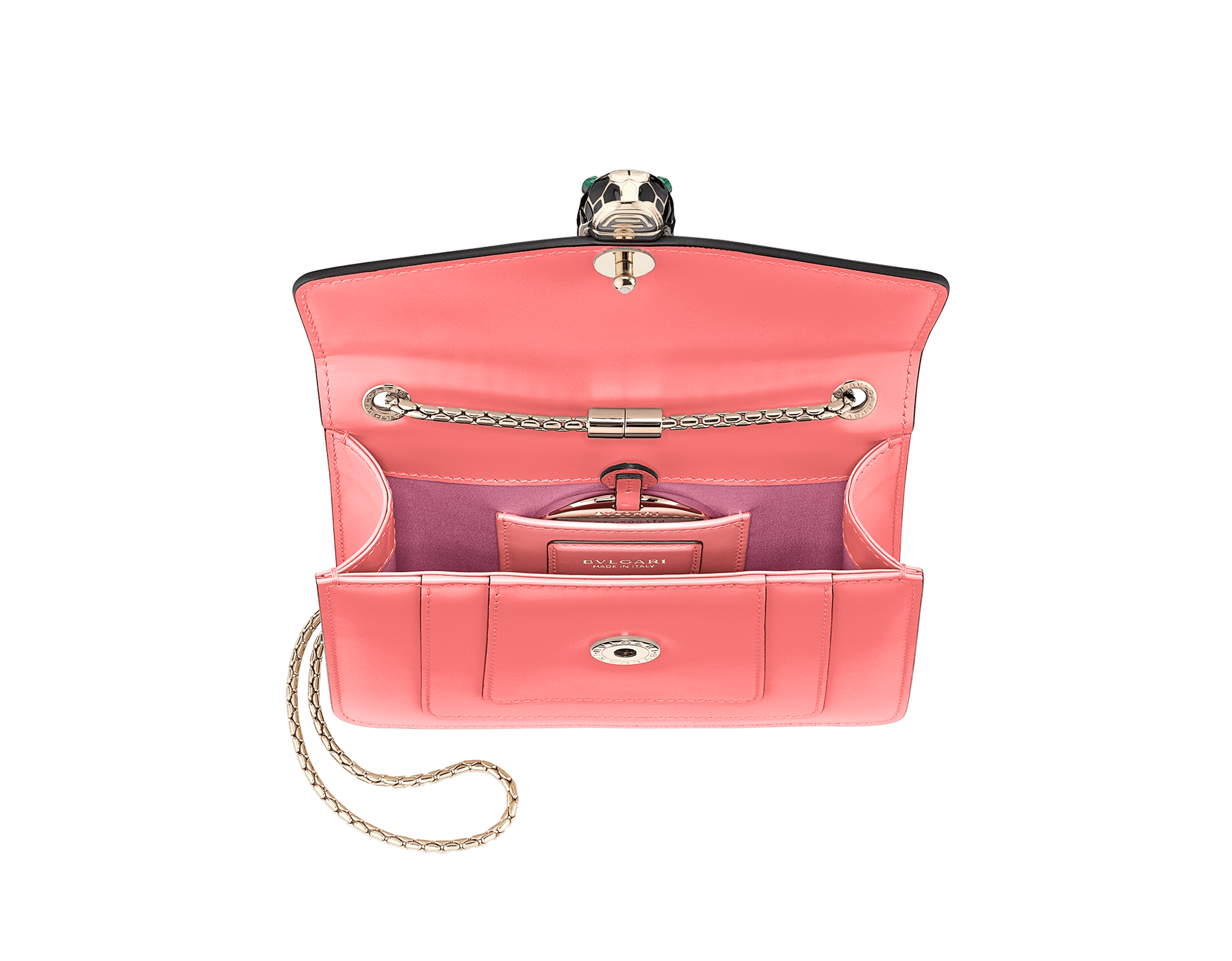 """Serpenti Forever"" crossbody bag in silky coral calf leather. Iconic snakehead closure in light gold plated brass enriched with black and white enamel and green malachite eyes. 288700 image 4"