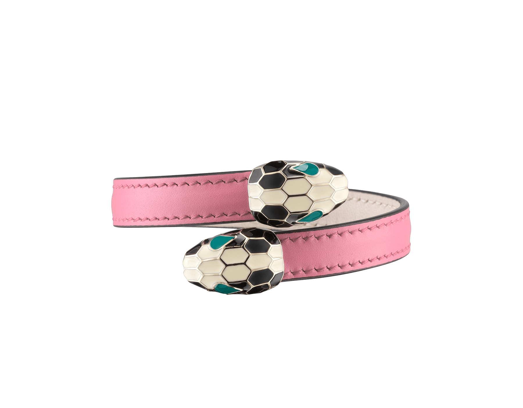 Serpenti Forever soft bangle bracelet in candy quartz calf leather, with brass light gold plated hardware. Iconic contraire snakehead décor in black and white enamel, with green enamel eyes SerpSoftContr-CL-CQ image 1
