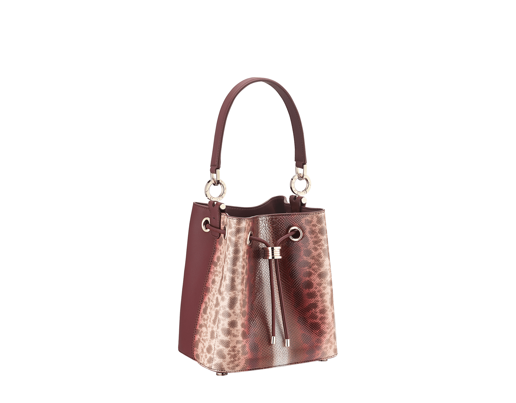 Bucket B.zero1 in rosa di francia Sahara karung skin and Roman garnet smooth calf leather with a Roman garnet nappa interior. Hardware in light gold plated brass, featuring B.zero1 décor. 289002 image 2