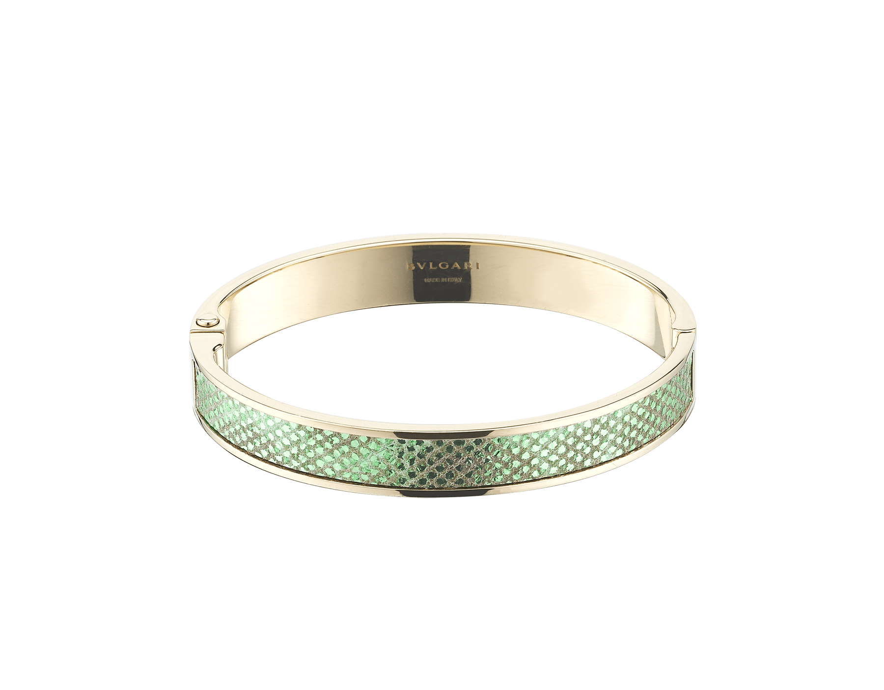 """BVLGARI BVLGARI"" new bangle bracelet in light gold with a mint metallic karung skin insert and a BVLGARI logo hinge closure. Logo engraving in the inner part. HINGEBBBRACLT-MK-M image 1"