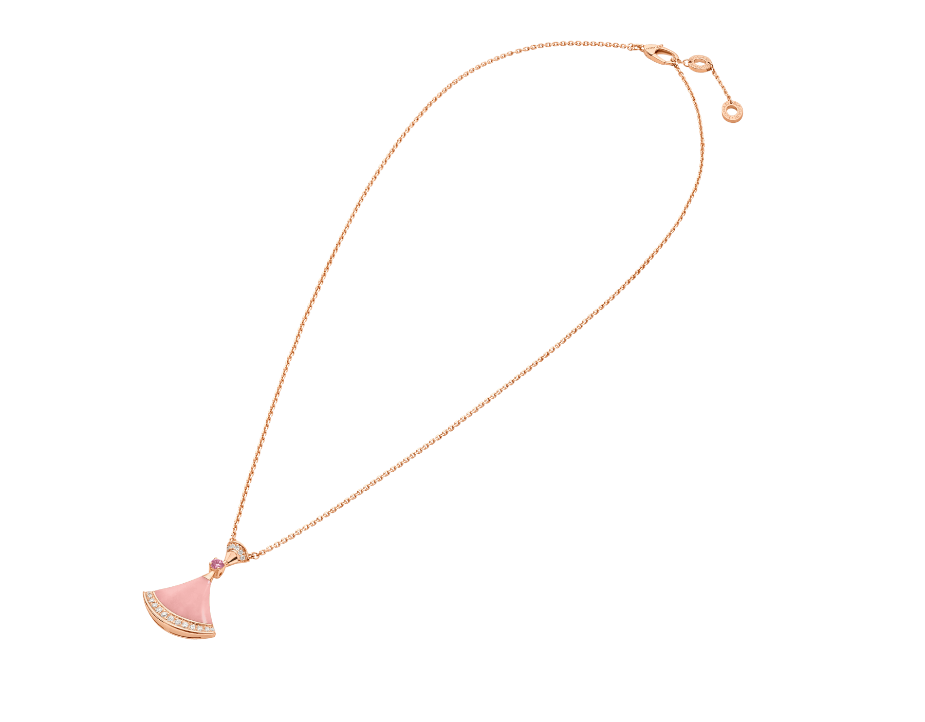 DIVAS' DREAM 18 kt rose gold pendant necklace set with a pink opal insert, a pink sapphire and pavé diamonds. Chinese Valentine's Day Special Edition 358131 image 2