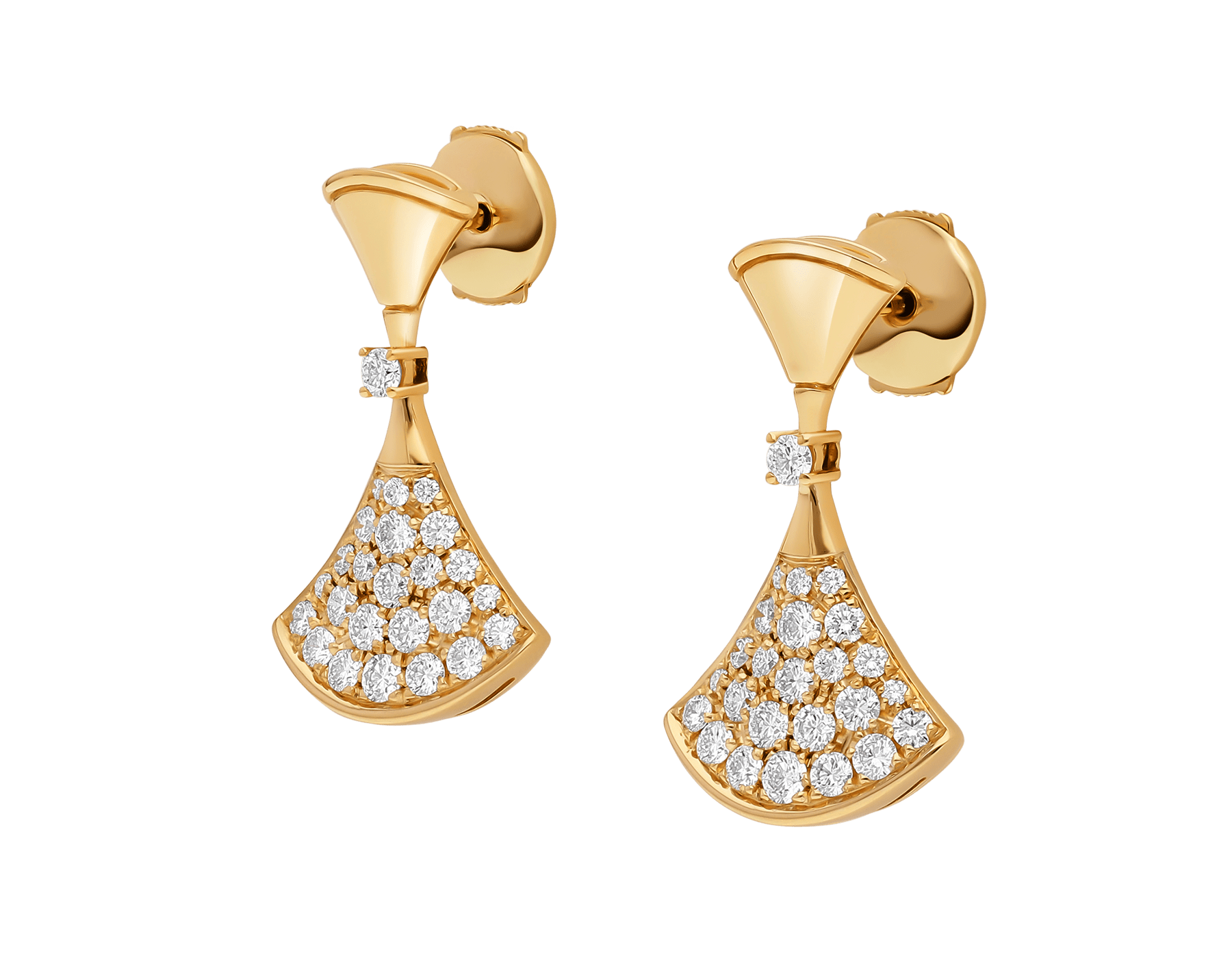 DIVAS' DREAM 18 kt yellow gold earrings set with a diamond and pavé diamonds 357514 image 2