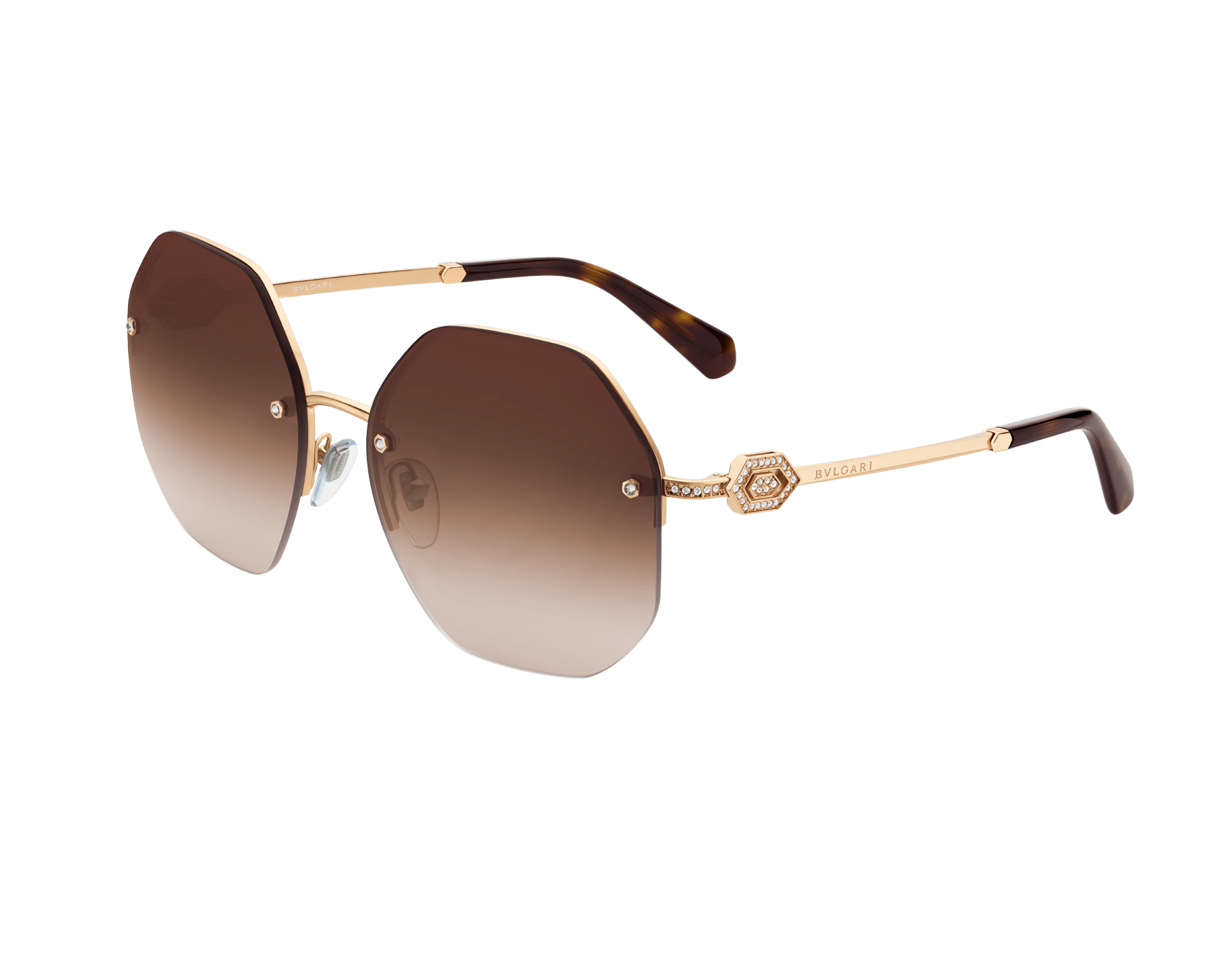 Bvlgari Serpenti oversized metal sunglasses with Serpenti openwork metal décor with crystals. 903854 image 1