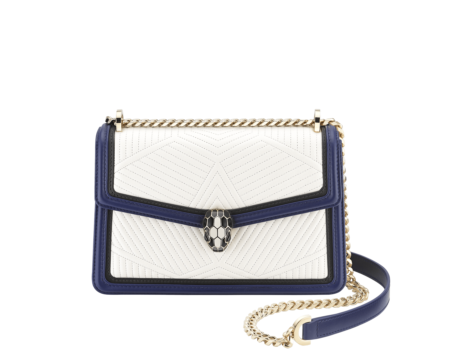 """Serpenti Diamond Blast"" shoulder bag in quilted, agate-white nappa leather with Royal Sapphire blue and black calfskin edging and Royal Sapphire blue nappa leather inner lining. Iconic snakehead closure in light gold-plated brass embellished with black and agate-white enamel and black onyx eyes. 922-FQDb image 2"