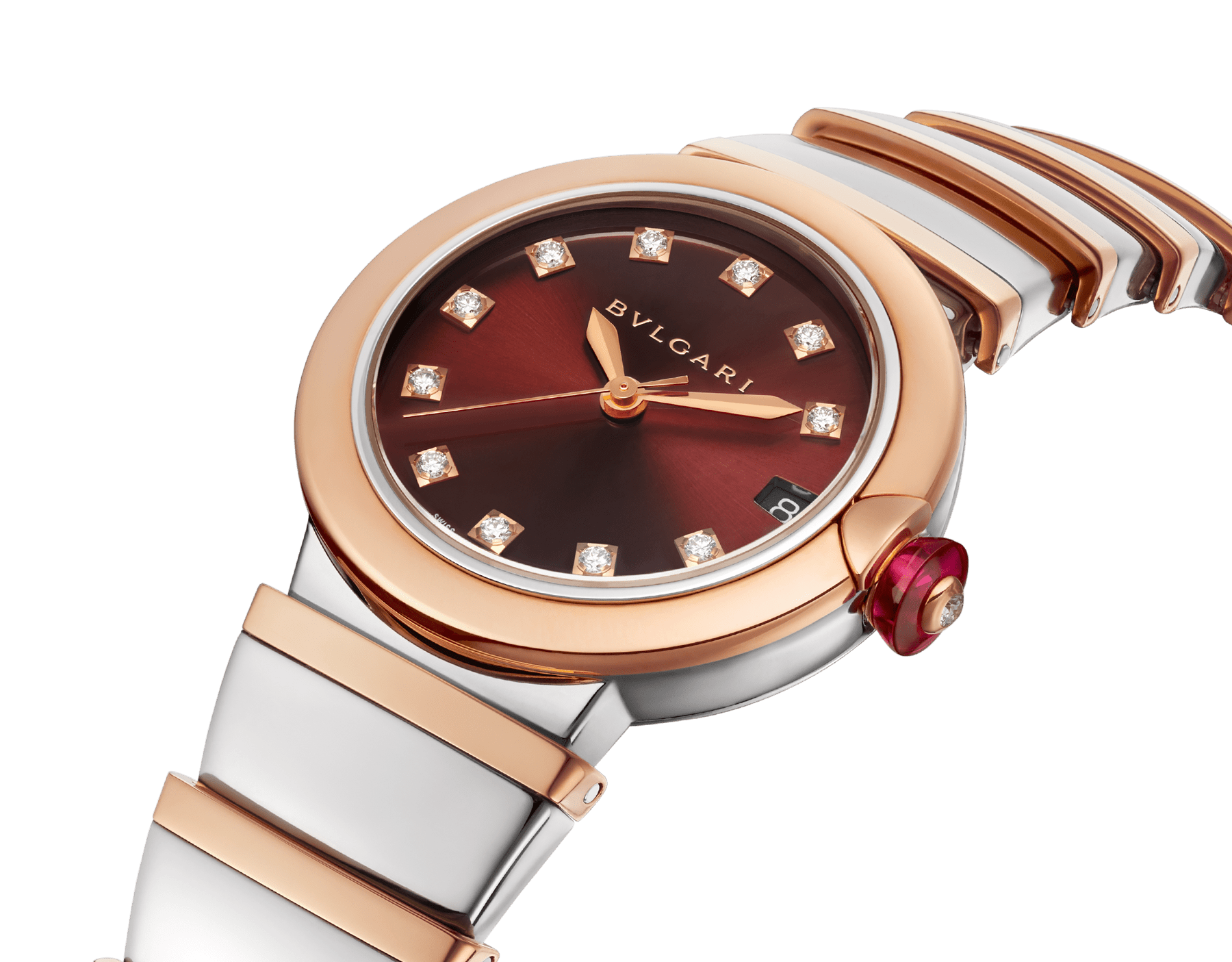 LVCEA watch in 18 kt rose gold and stainless steel case and bracelet, with brown dial and diamond indexes. 102689 image 2