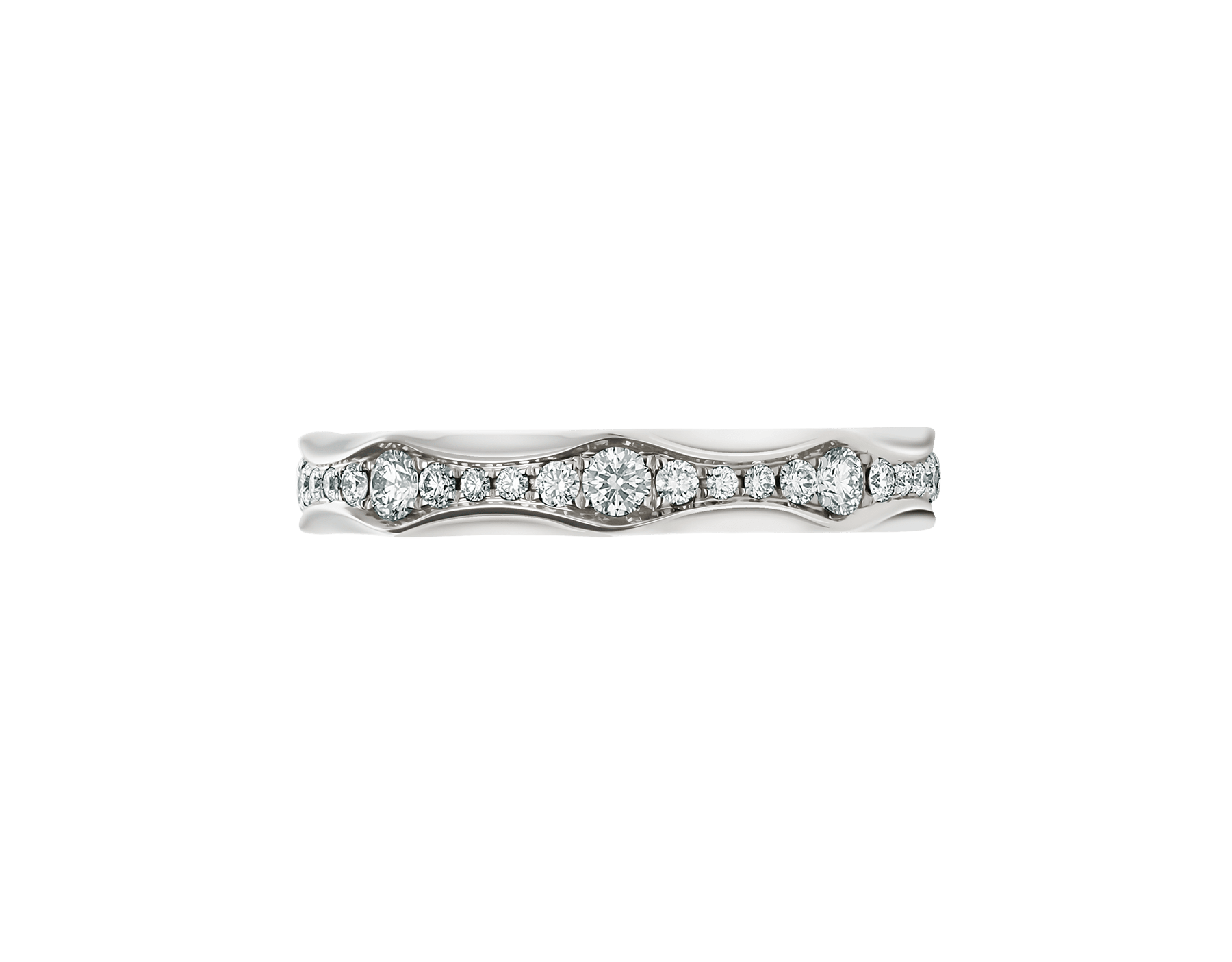 Infinito wedding band in platinum, set with full pavé diamonds. AN857697 image 2