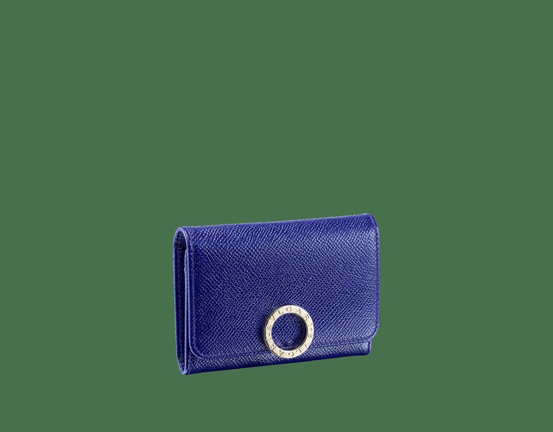 BVLGARI BVLGARI 名片夾,採用薄荷色亮珠面小牛皮和太妃石英色 Nappa 軟面皮。經典淡金色黃銅品牌標誌扣環。 579-BC-HOLDER-BGCLc image 1