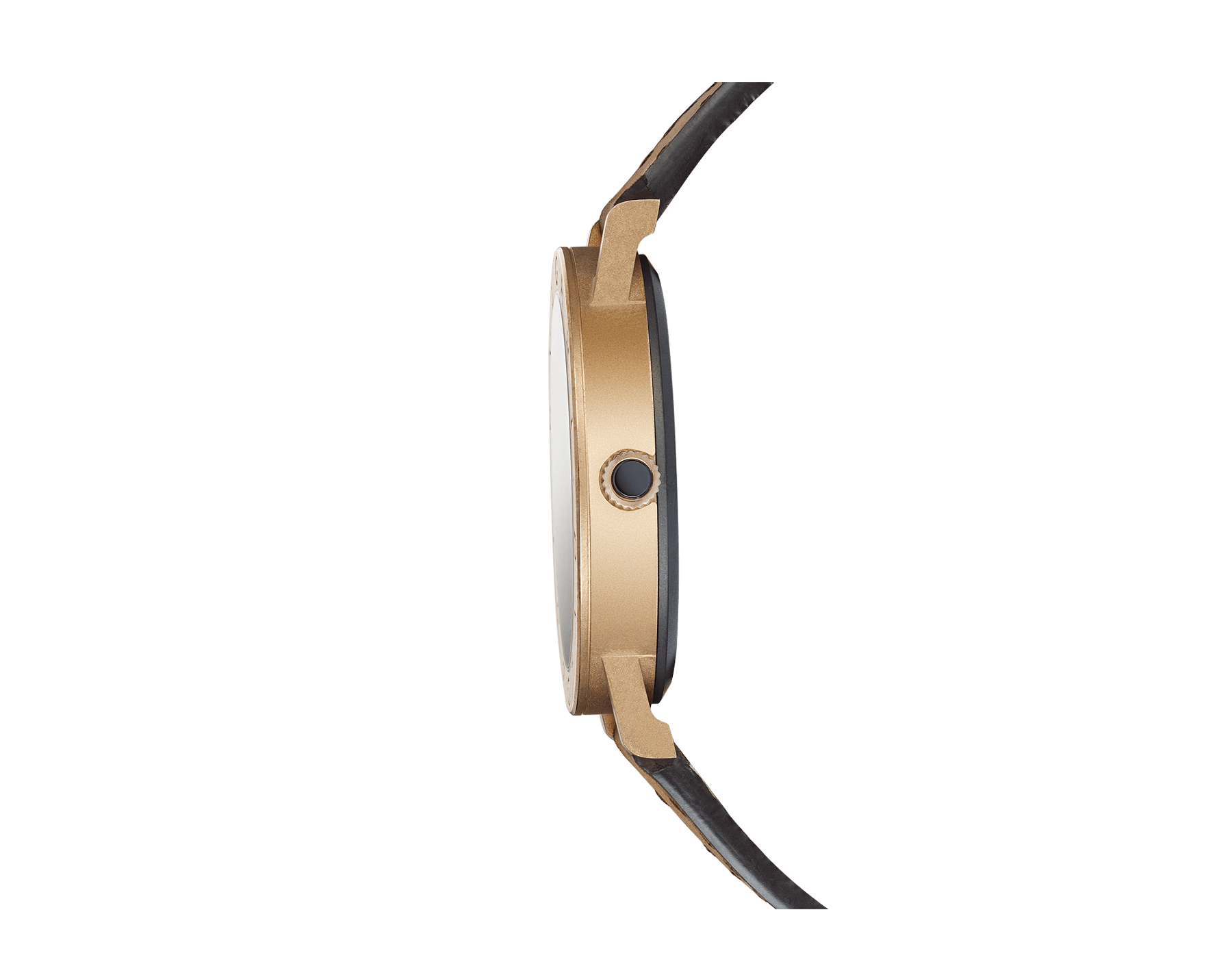 BVLGARI BVLGARI Solotempo watch with mechanical manufacture movement, automatic winding and date, bronze case, bronze bezel engraved with double logo, black dial and brown leather bracelet 102977 image 2