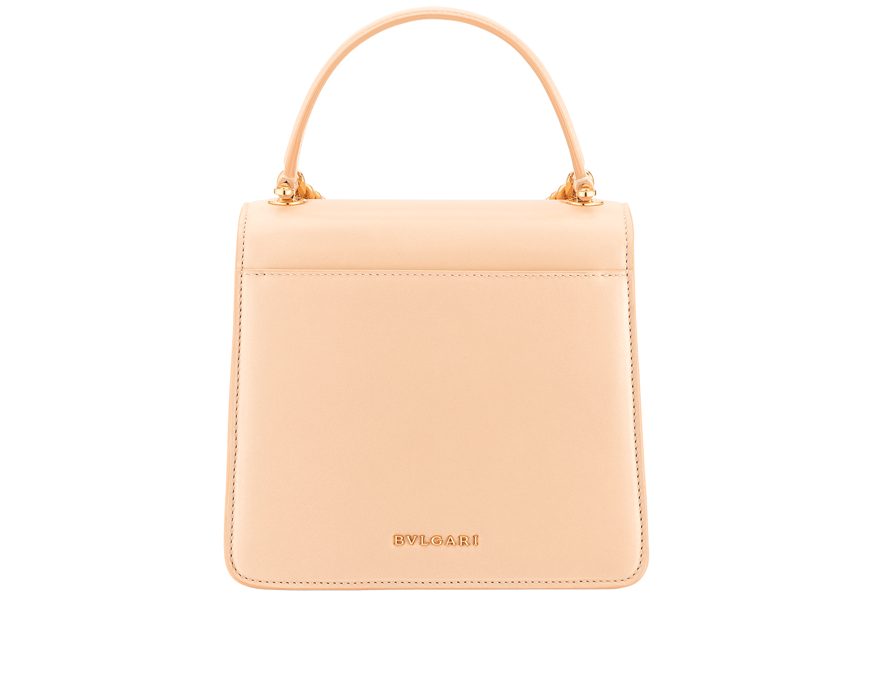 """""""Serpenti Forever"""" small maxi chain top handle bag in peach nappa leather, with Lavender Amethyst lilac nappa leather inner lining. New Serpenti head closure in gold-plated brass, finished with small pink mother-of-pearl scales in the middle and red enamel eyes. 1133-MCN image 3"""