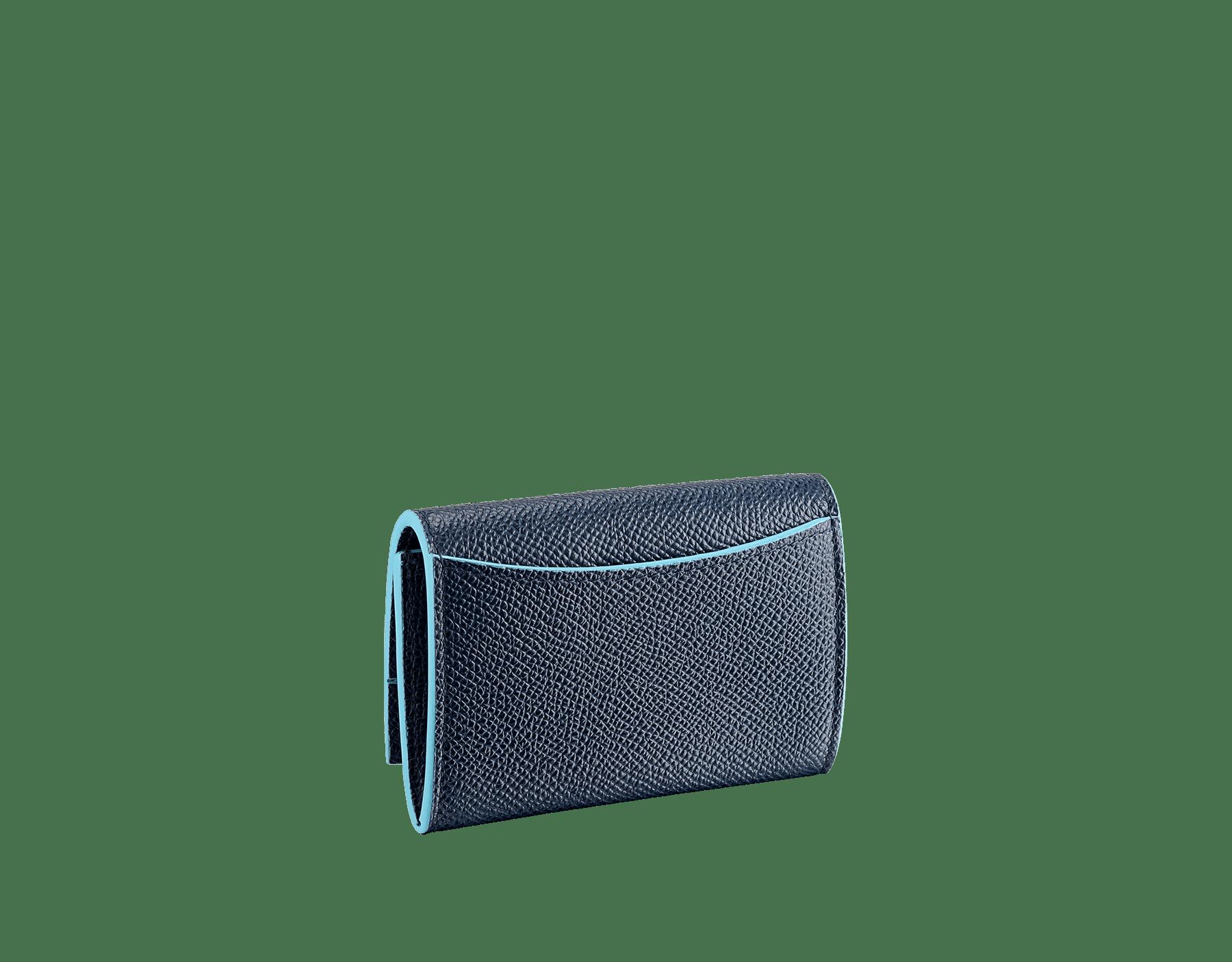 Denim SapphireのブルーとAegean Topazのライトブルーのカーフレザー製「ブルガリ・ブルガリ」コインパース。 ブラスパラジウムプレートのアイコニックなロゴのクロージャークリップ。 290671 image 3