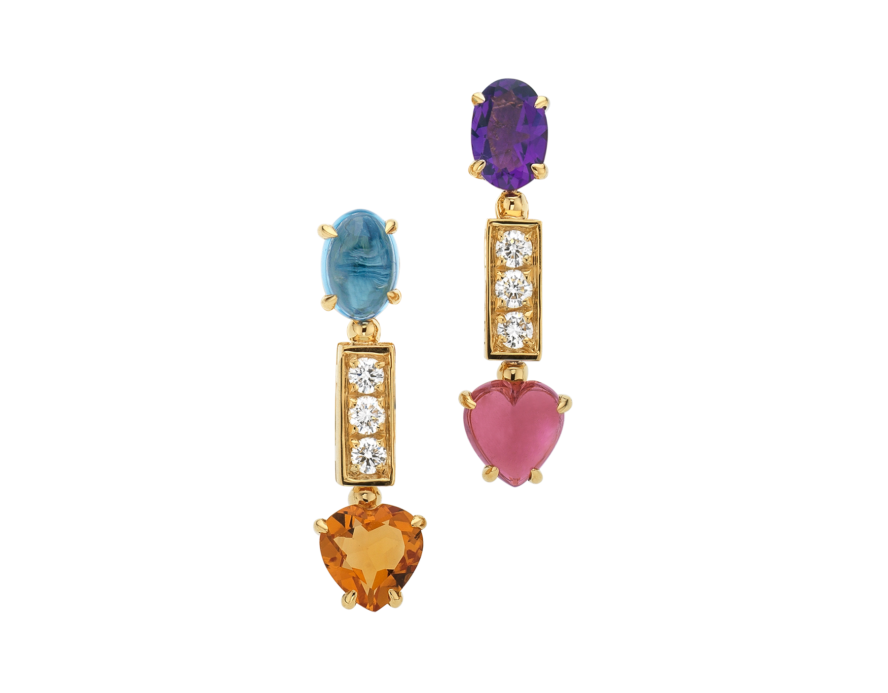 Allegra short 18 kt yellow gold pendant earrings set with pink tourmaline, amethyst, citrine quartz, blue topaz and pavé diamonds 334677 image 1