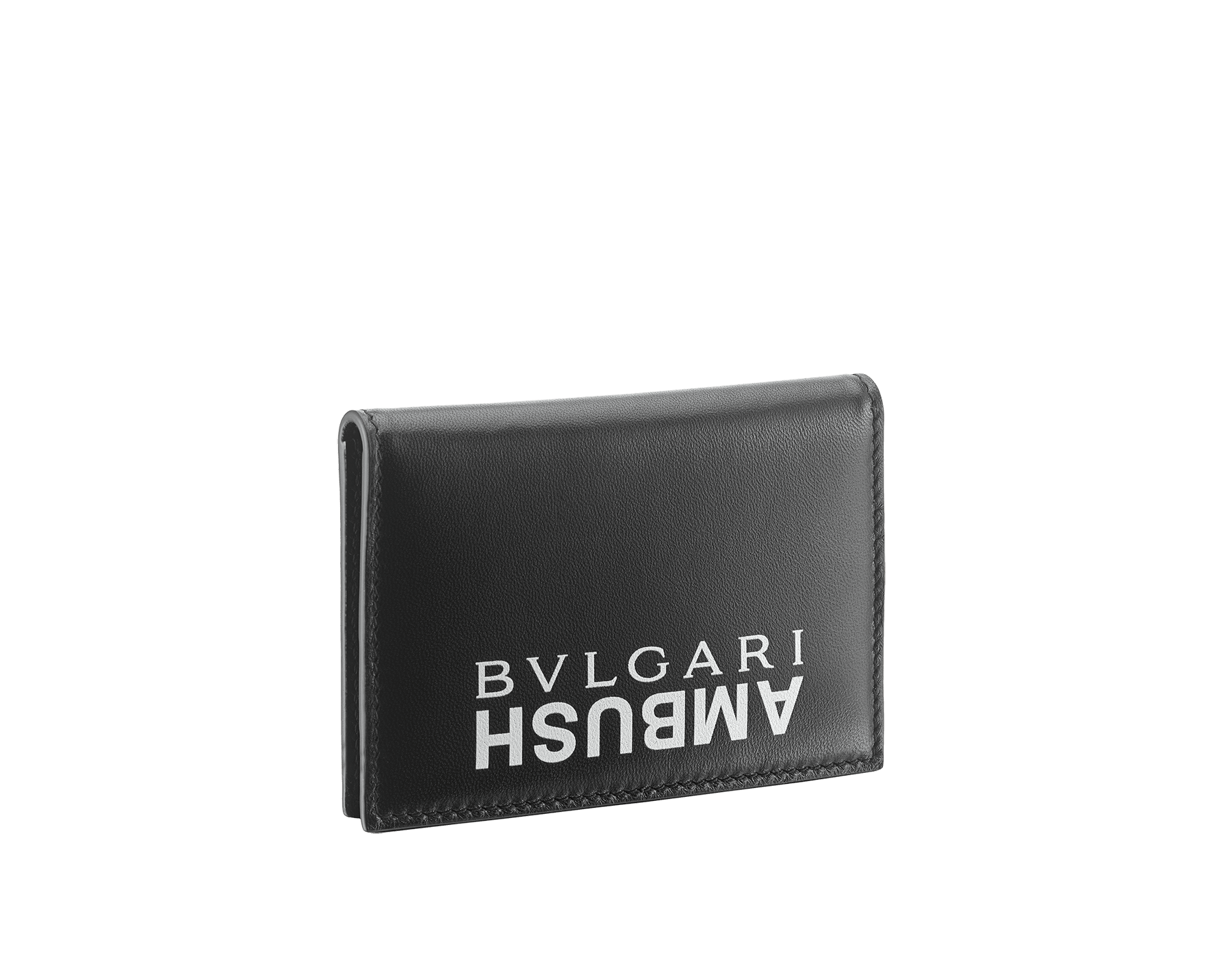 """Ambush x Bvlgari"" vertical card holder in bright green and black nappa leather. Palladium plated brass ""BVLGARI AMBUSH"" décor on one side and special ""BVLGARI AMBUSH"" logo print on the other. Limited Edition. YA-VERTICALCCH image 3"