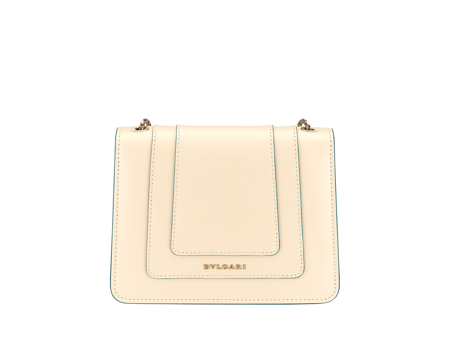 """""""Serpenti Forever"""" crossbody bag in peach calf leather with Pink Spinel fuchsia grosgrain inner lining. Iconic snakehead closure in light gold-plated brass enriched with black and white agate enamel and green malachite eyes. 422-CLb image 3"""