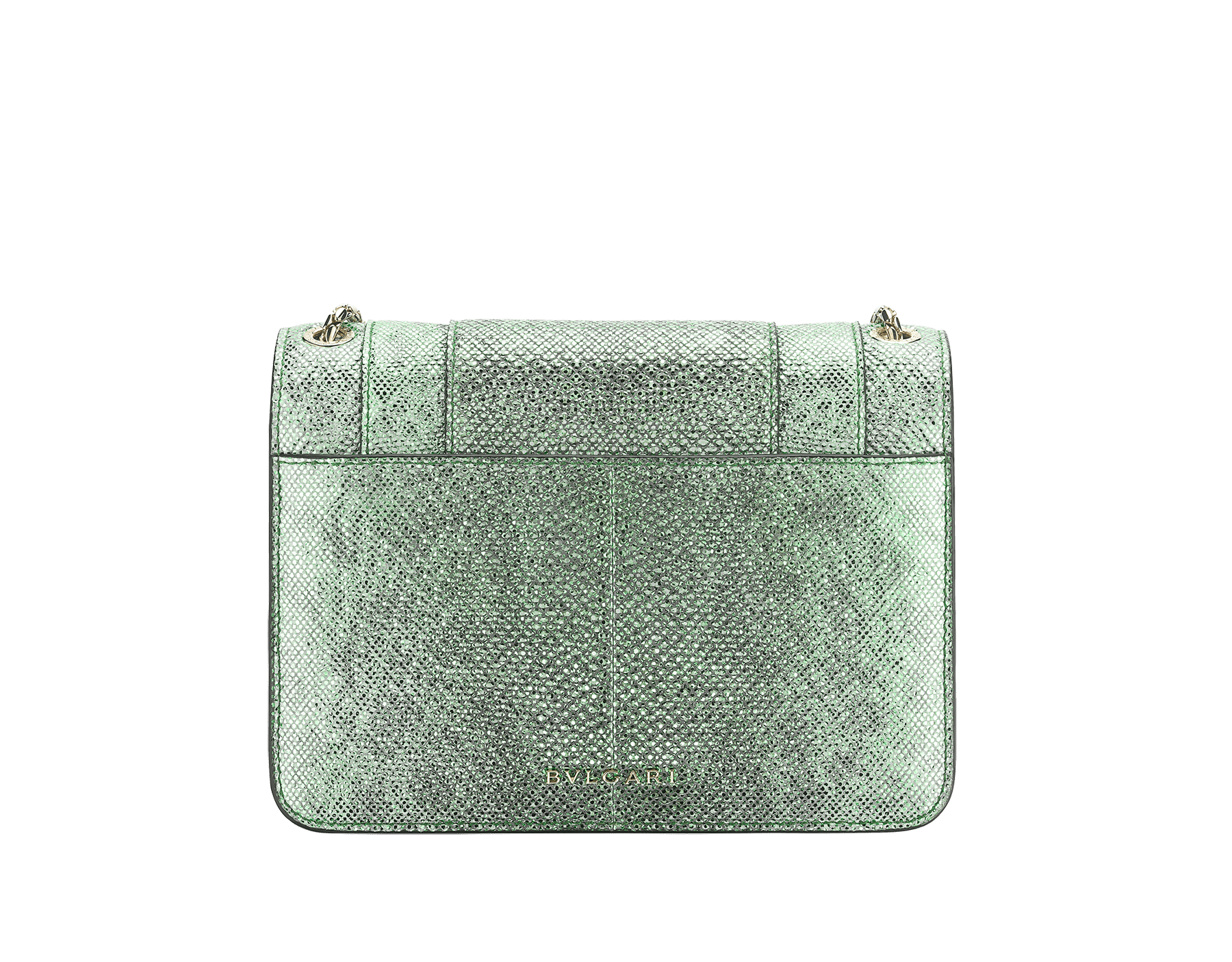 """Serpenti Forever"" crossbody bag in charcoal diamond metallic karung skin. Iconic snakehead closure in light gold plated brass enriched with black and glitter hawk's eye enamel and black onyx eyes. 1082-MK image 3"