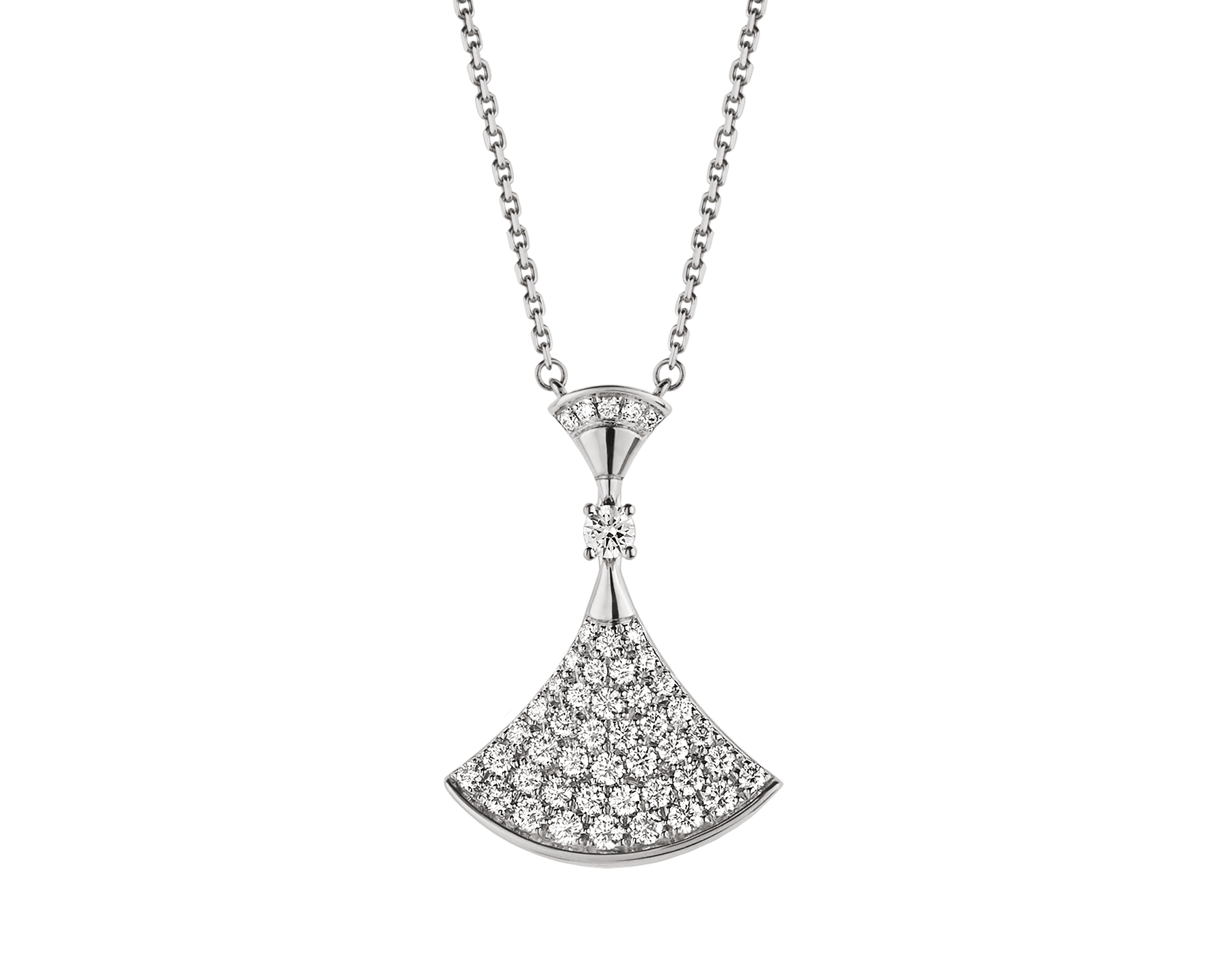 DIVAS' DREAM necklace in 18 kt white gold with pendant set with one diamond and pavé diamonds. 350066 image 1