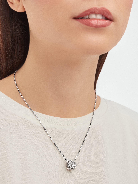 Serpenti Viper pendant necklace in 18 kt white gold set with pavé diamonds 357796 image 2