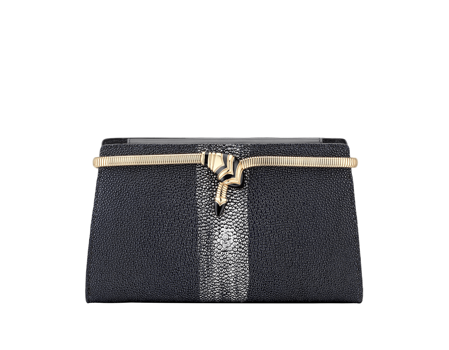 Serpenti Tubogas evening clutch in blue and silver shaded galuchat skin. Light gold plated brass tubogas snake motif and closure, set with black enamel. 288523 image 1