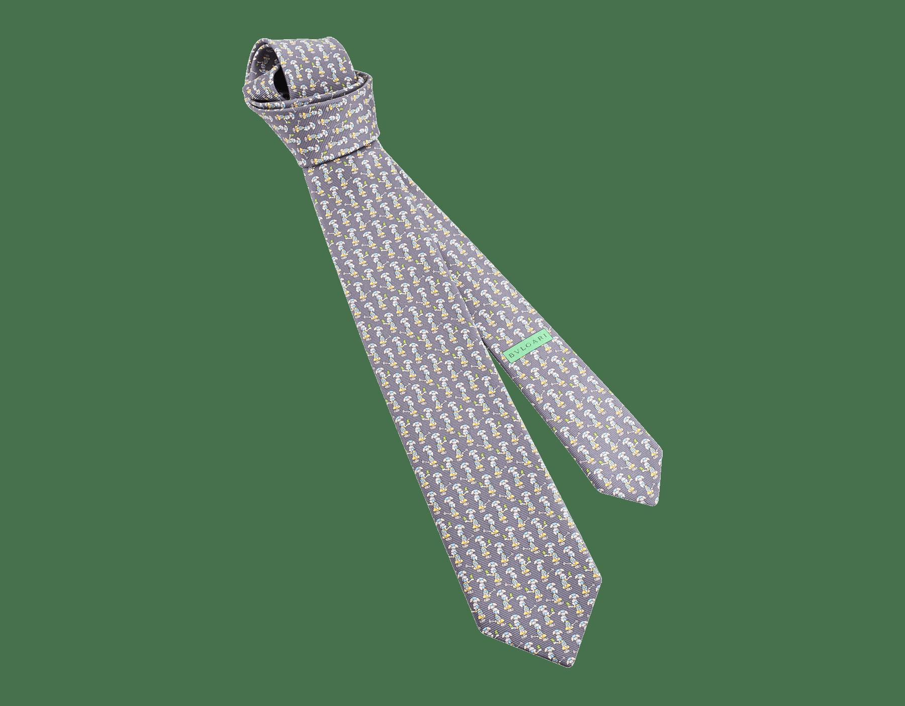 "Navy ""Roman Selfie"" seven-fold tie in fine saglione printed silk. ROMANSELFIE image 1"