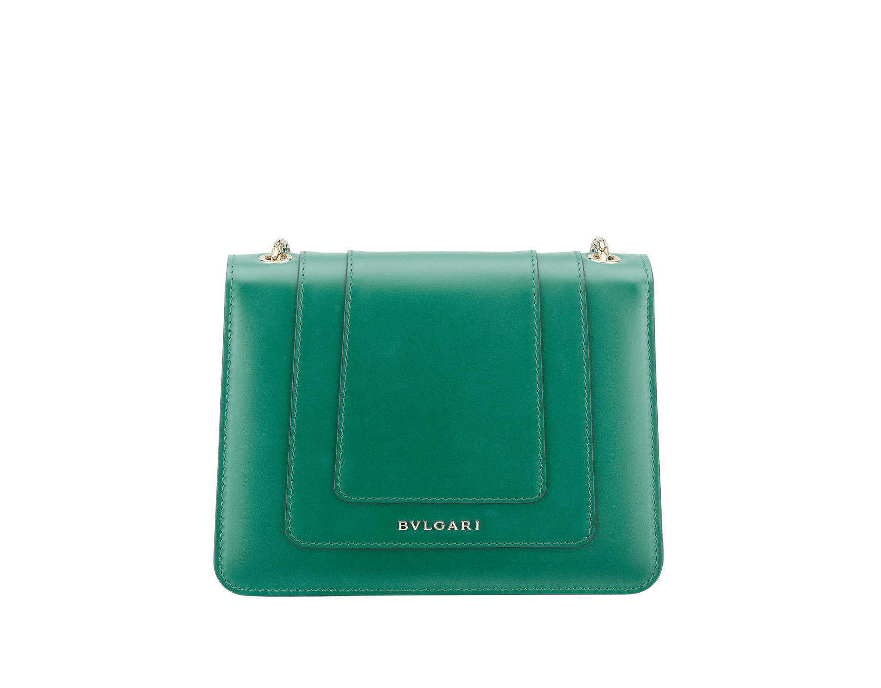 Shoulder bag Serpenti Forever in emerald green calf leather with brass light gold plated Serpenti head closure in black and white enamel with eyes in malachite. 422-CLa image 3