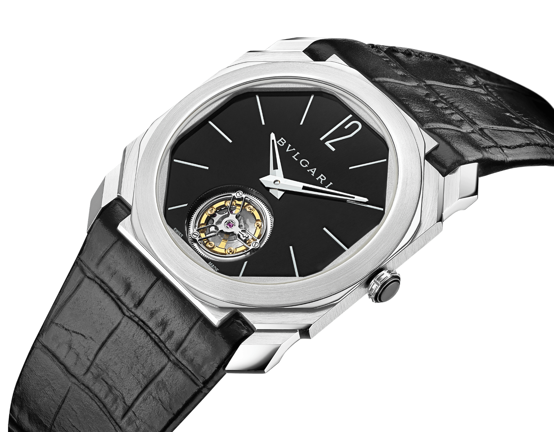 Octo Finissimo Tourbillon watch with extra thin mechanical manufacture movement and manual winding, platinum case, black lacquered dial and black alligator bracelet. 102138 image 2