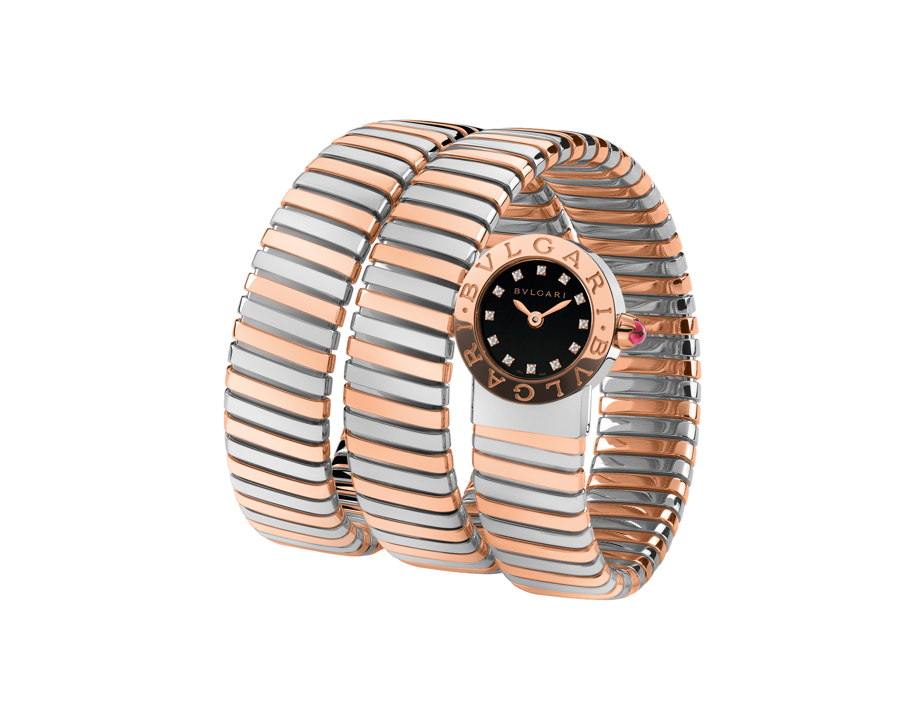 BVLGARI BVLGARI Tubogas watch in stainless steel and 18 kt rose gold case and double spiral bracelet, with black lacquered dial and diamond indexes 102496 image 1