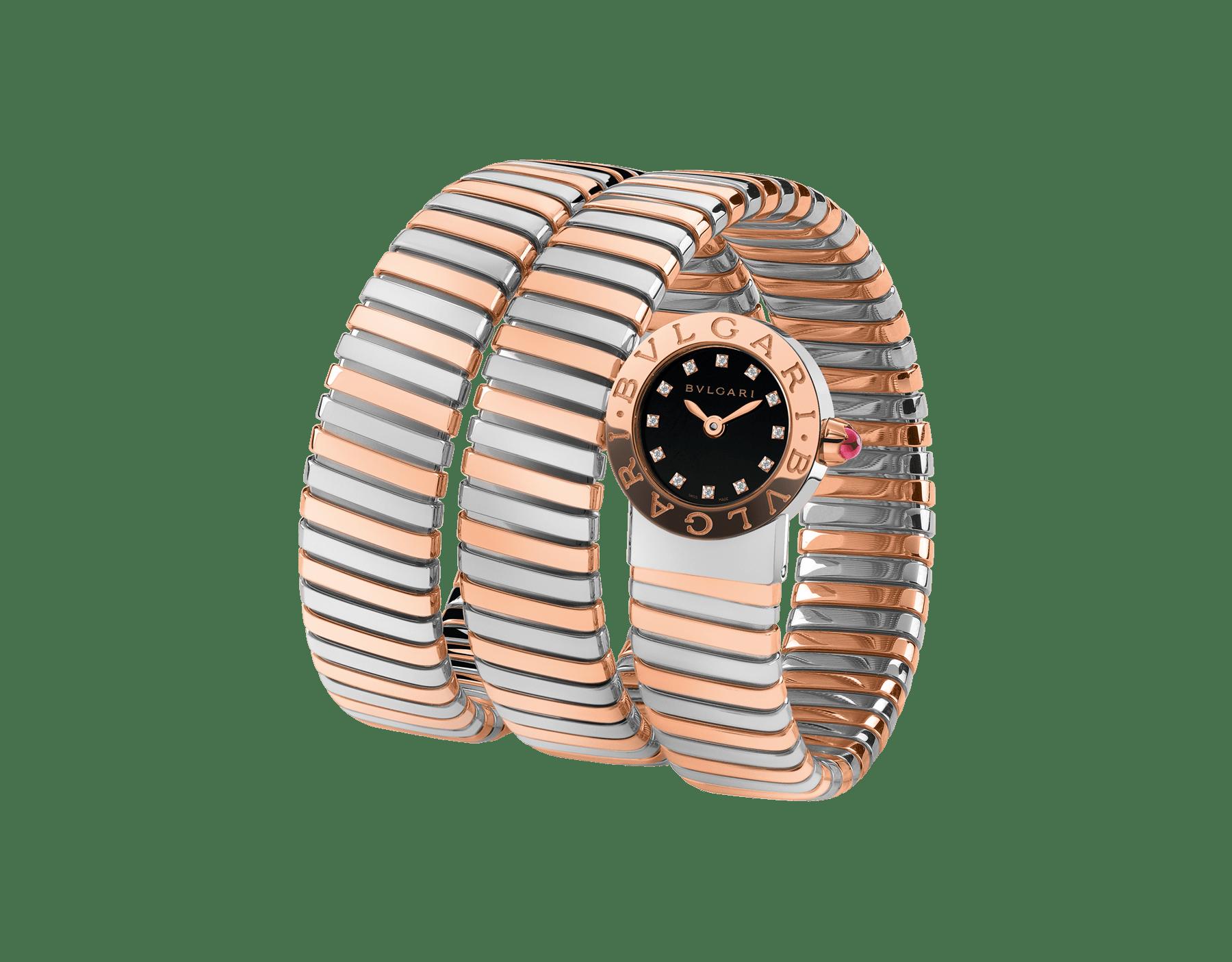 ブルガリ・ブルガリ トゥボガス ウォッチ。ステンレススティール&18Kピンクゴールド製ケースとダブルスパイラルブレスレット。ブラックラッカー仕上げのダイアル。ダイヤモンドインデックス。 102496 image 1