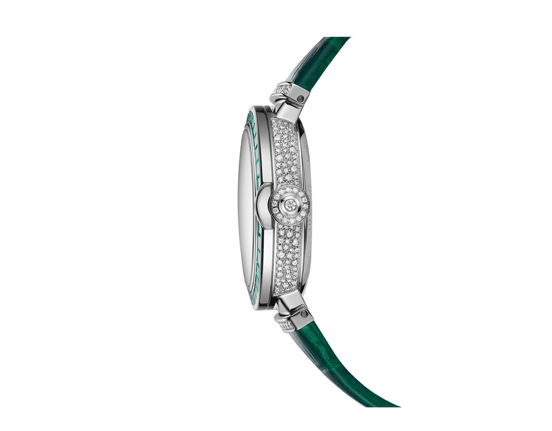 LVCEA Skeleton watch with mechanical movement, automatic winding, 18 kt white gold case set with baguette-cut emeralds, 18 kt white gold openwork BVLGARI logo dial set with brilliant-cut diamonds, green alligator bracelet and 18 kt white gold links set with brilliant-cut diamonds 103033 image 3