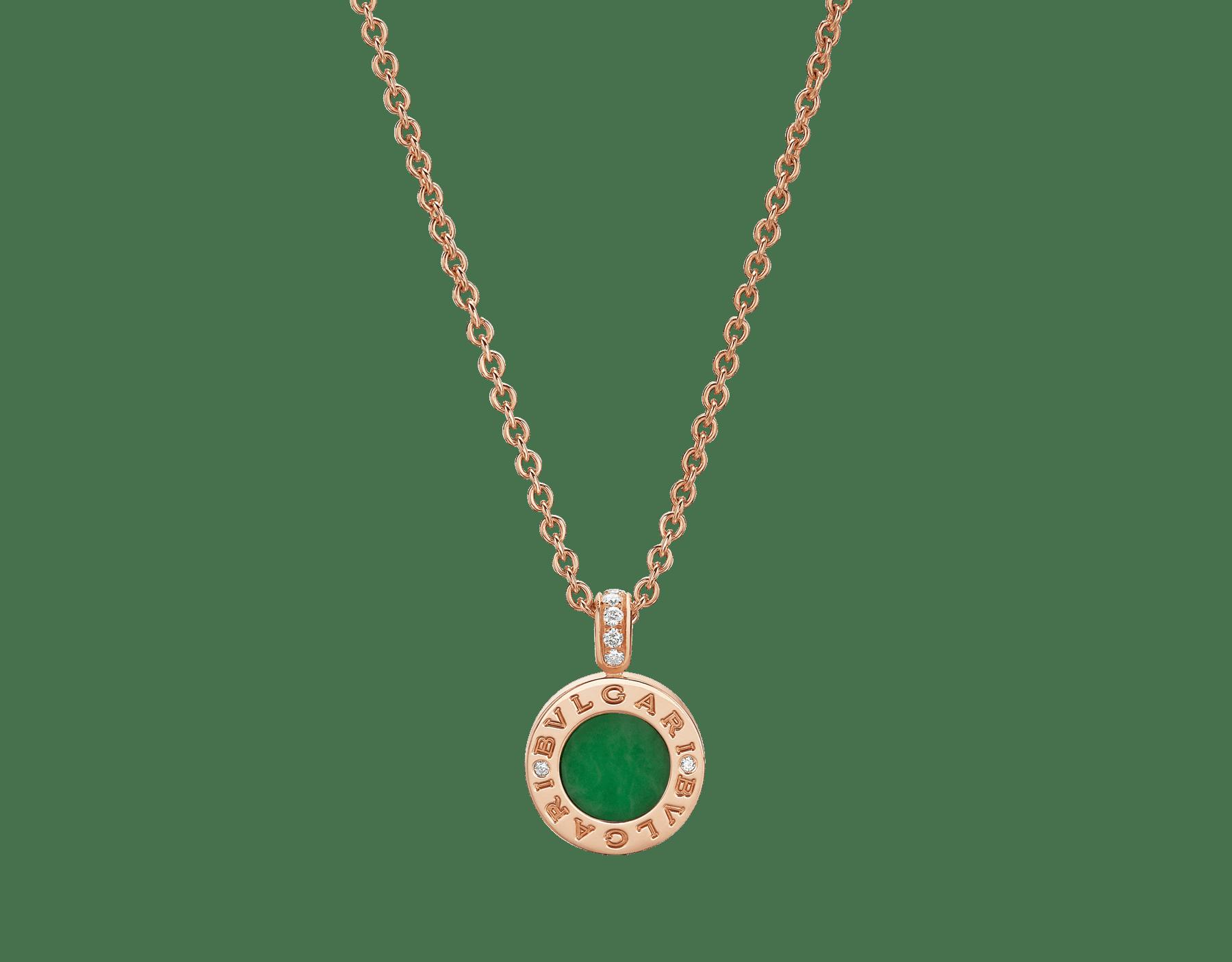 Collier BVLGARI BVLGARI avec chaîne en or rose 18K et pendentif en or rose 18K serti d'éléments en jade et pavé diamants 350681 image 1