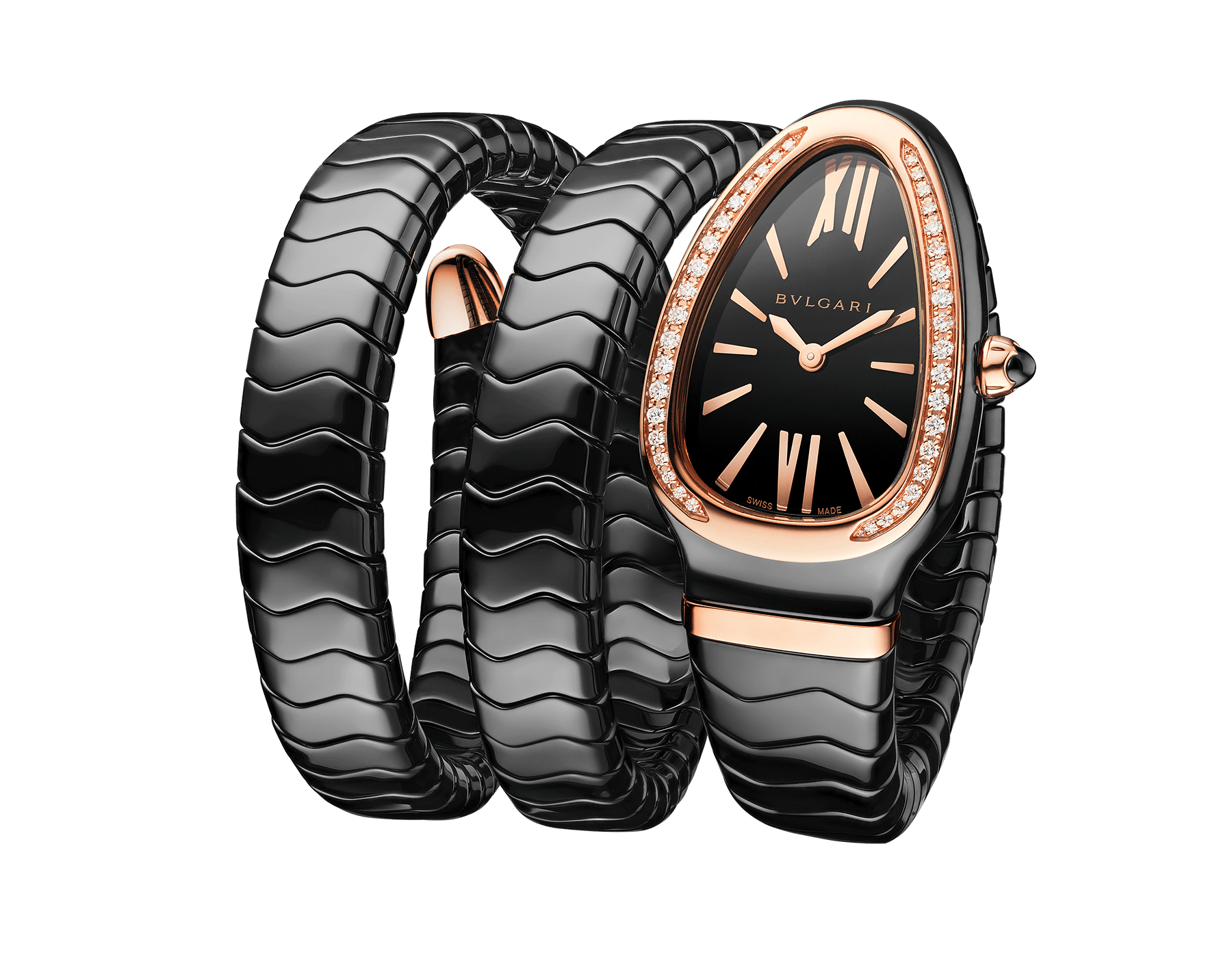 Serpenti Spiga watch with black ceramic case, 18 kt rose gold bezel set with diamonds, black lacquered polished dial and double spiral bracelet in black ceramic and 18 kt rose gold elements. 102885 image 1