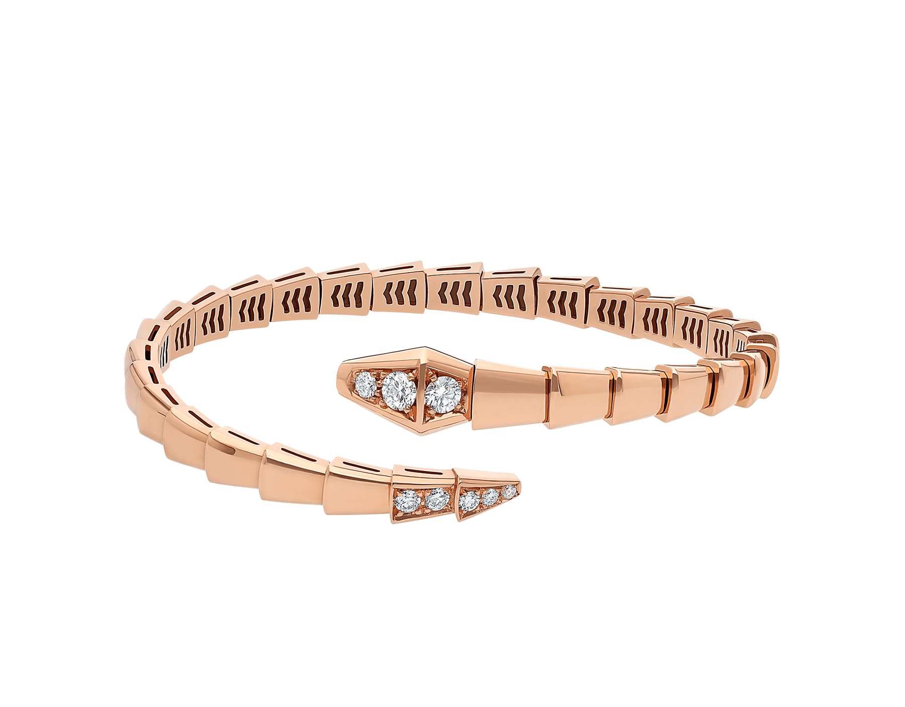 Serpenti Viper 18 kt rose gold bracelet set with demi-pavé diamonds BR858812 image 2