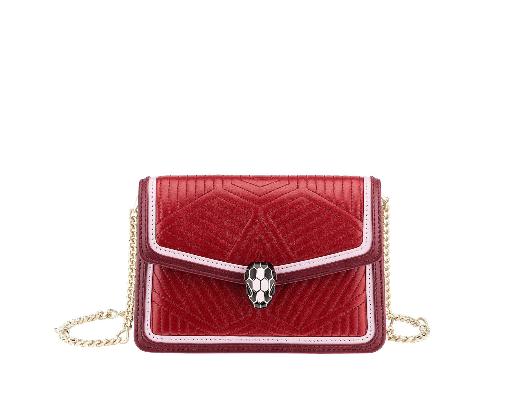 """""""Serpenti Diamond Blast"""" crossbody micro bag in ruby red quilted nappa leather body and Roman garnet calf leather frames. Iconic snakehead closure in light gold plated brass enriched with black and rosa di francia enamel and black onyx eyes. 288845 image 1"""